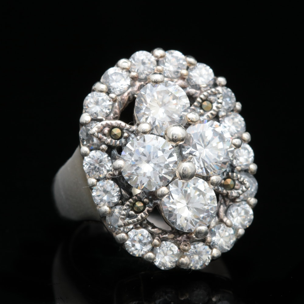 Sterling Silver, Cubic Zirconia and Marcasite Ring
