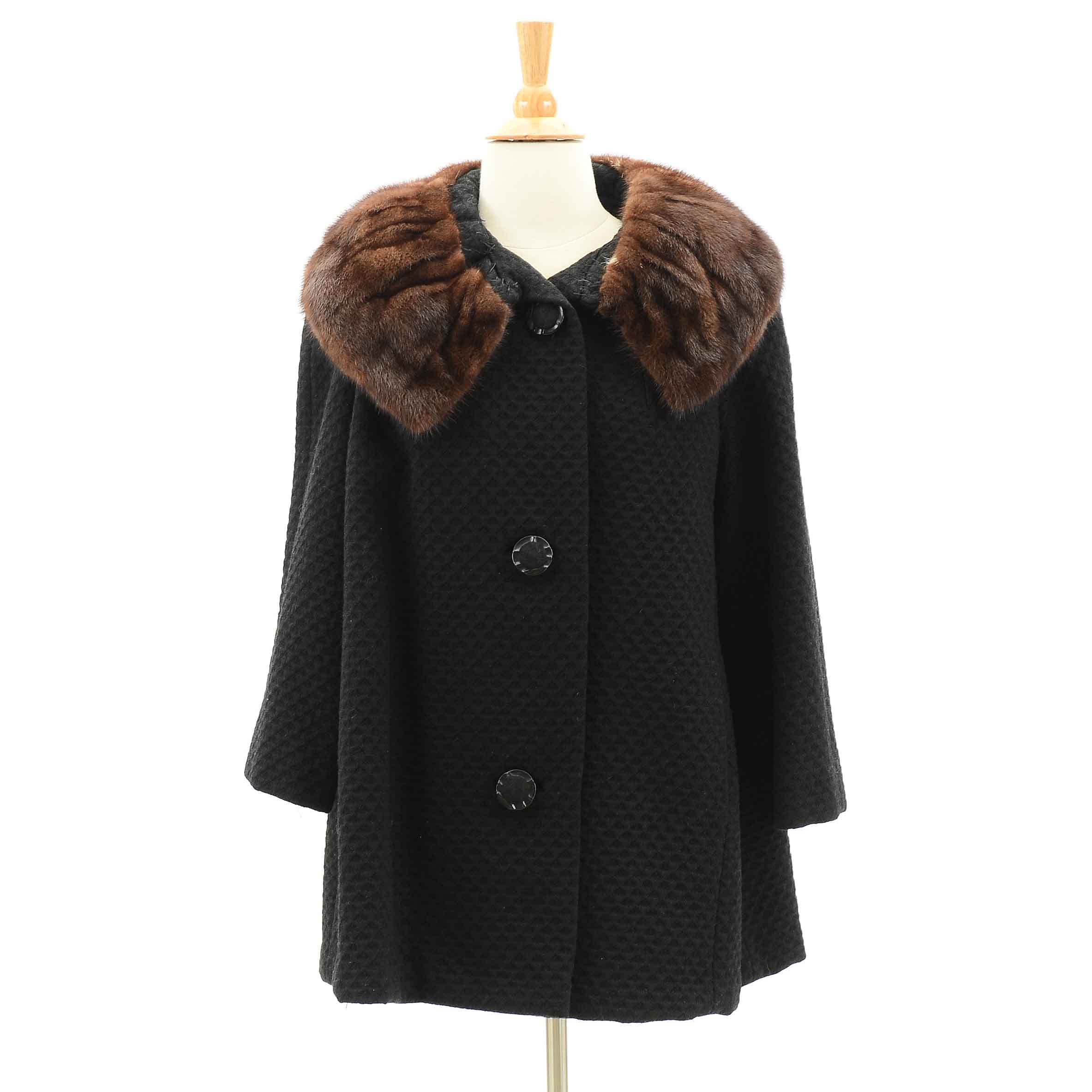 Vintage Wool and Mink Swing Coat