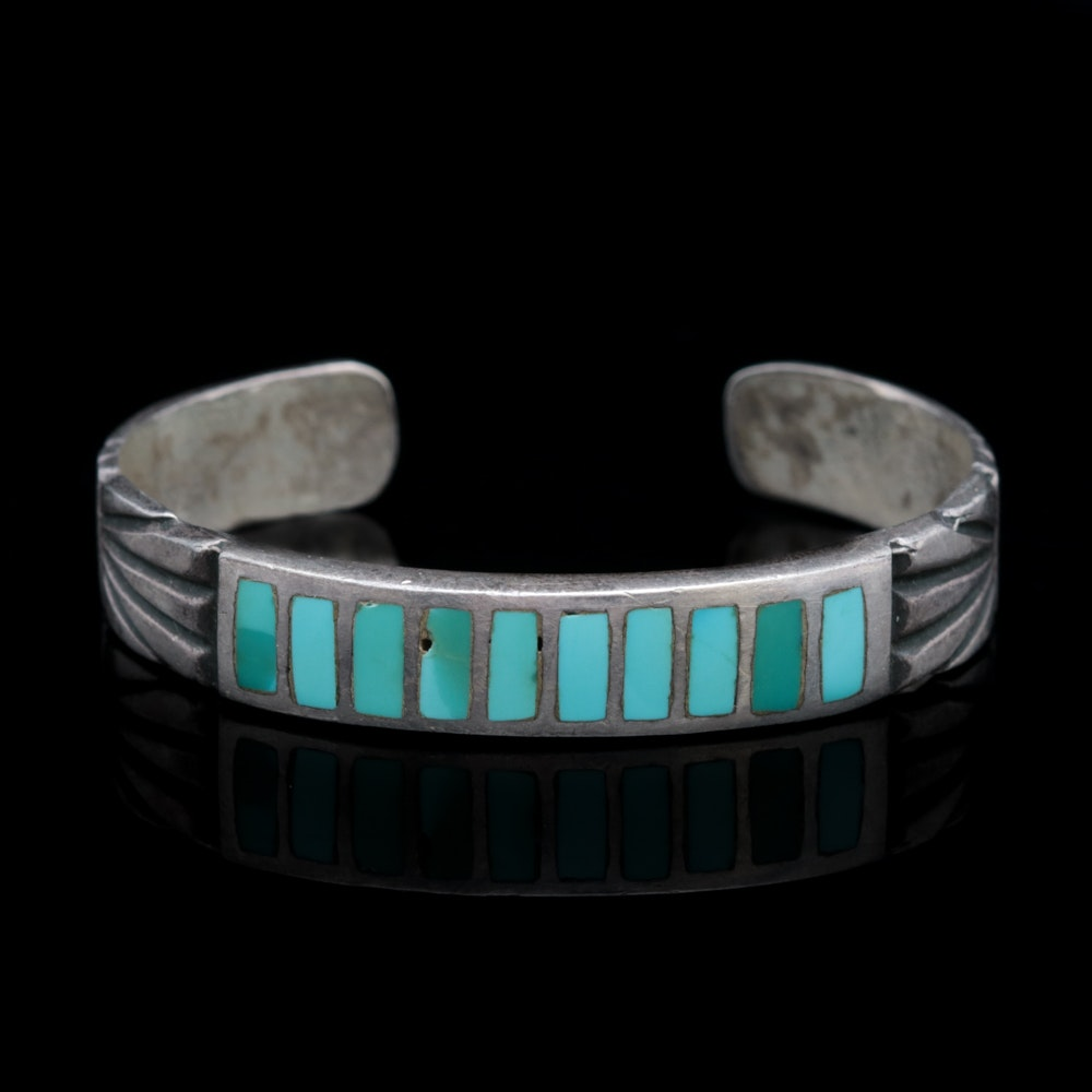 Sterling Silver and Turquoise Inlay Cuff Bracelet