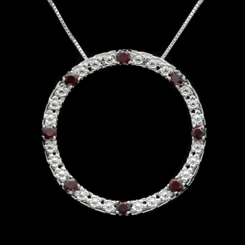 Sterling Silver and Garnet Pendant with Chain
