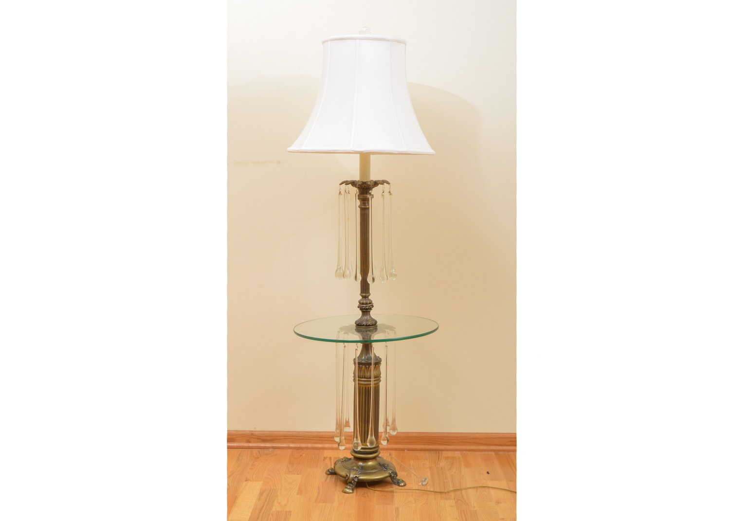 Vintage Neoclassical Revival Style Tray Table Floor Lamp
