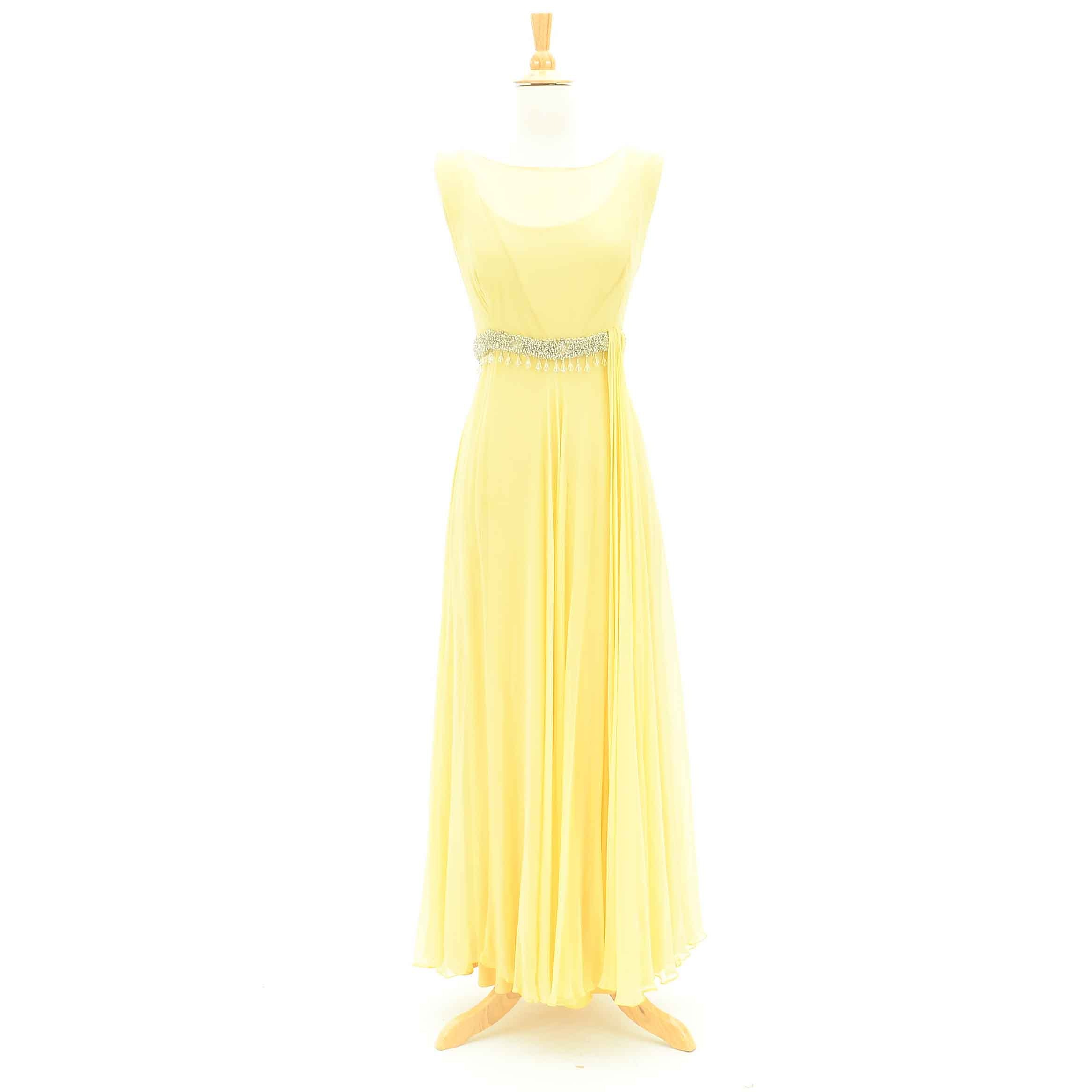 Vintage Altman & Co. Yellow Chiffon Sleeveless Evening Gown