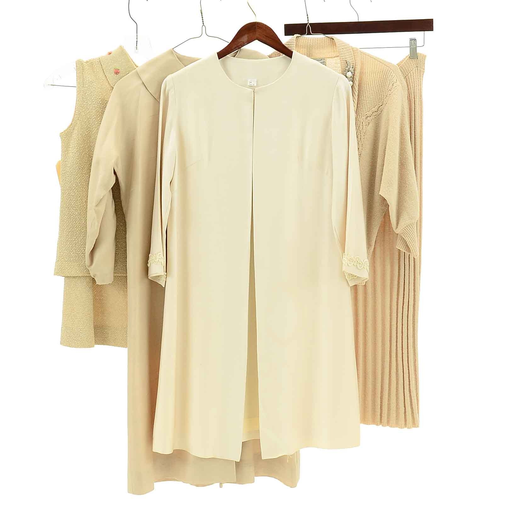 Vintage Women's Cream Skirt Sets and Jackets