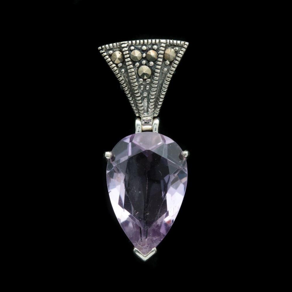 Sterling Silver, Amethyst and Marcasite Pendant with Chain