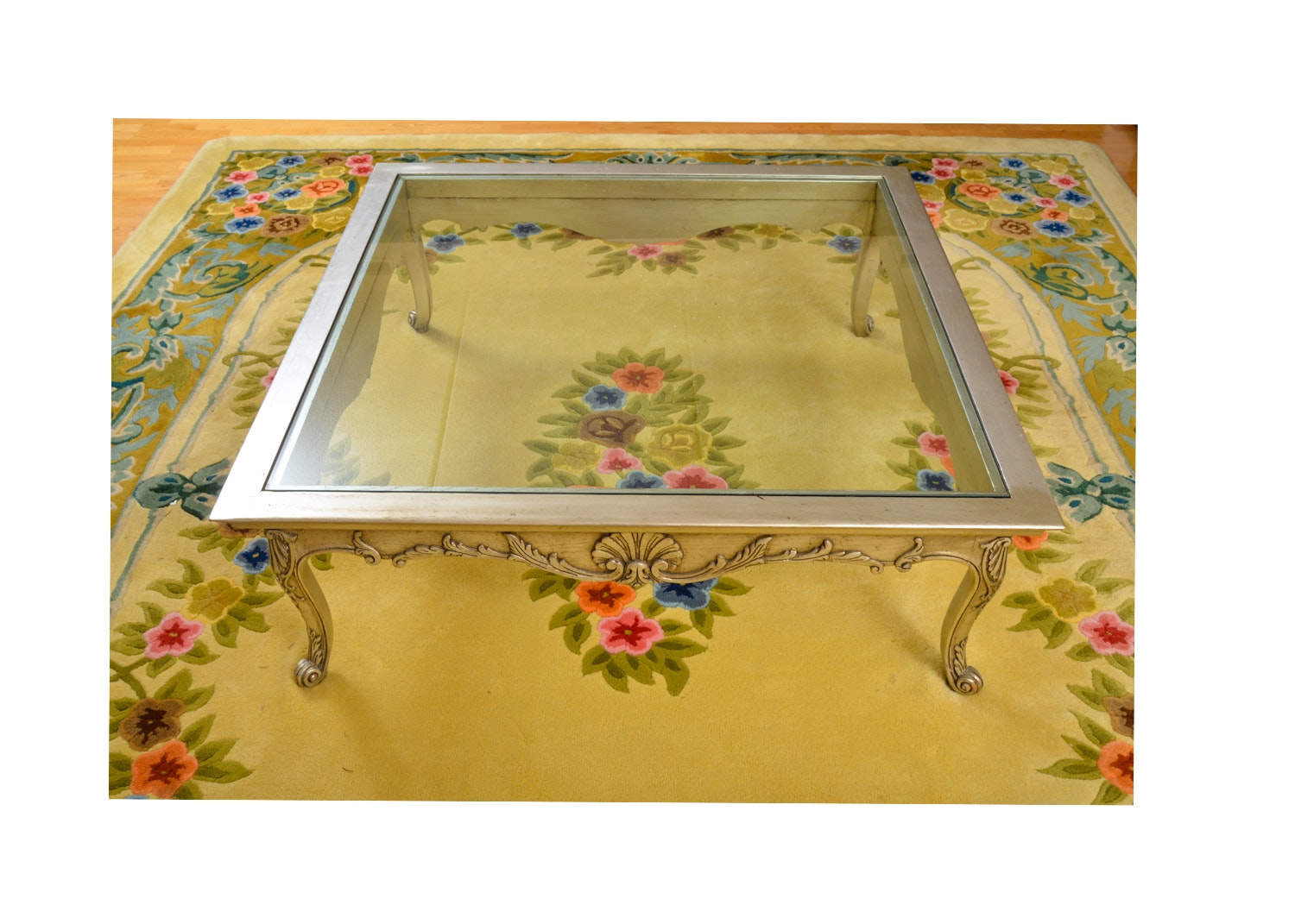 French Provincial Style Glass Top Coffee Table