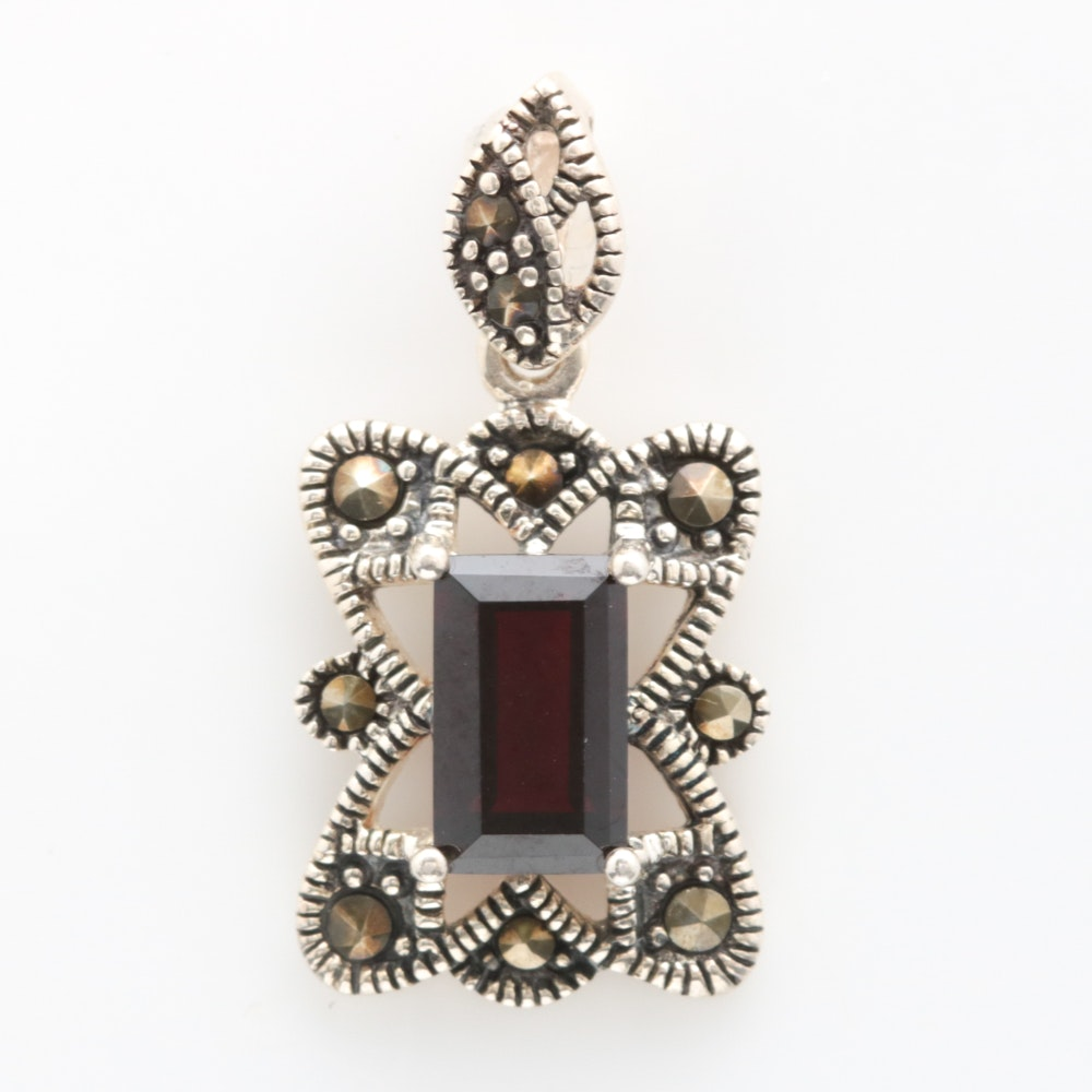 Sterling Silver, Garnet and Marcasite Pendant