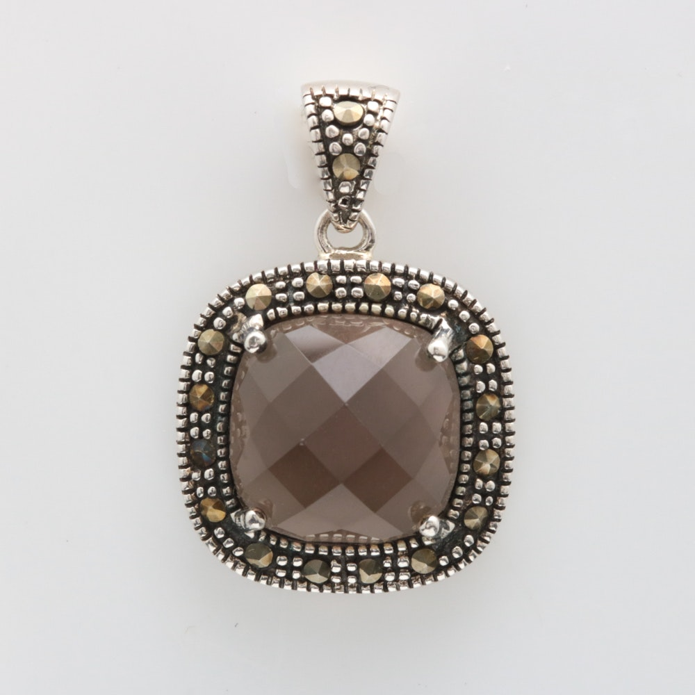 Sterling Silver, Smoky Quartz and Marcasite Pendant