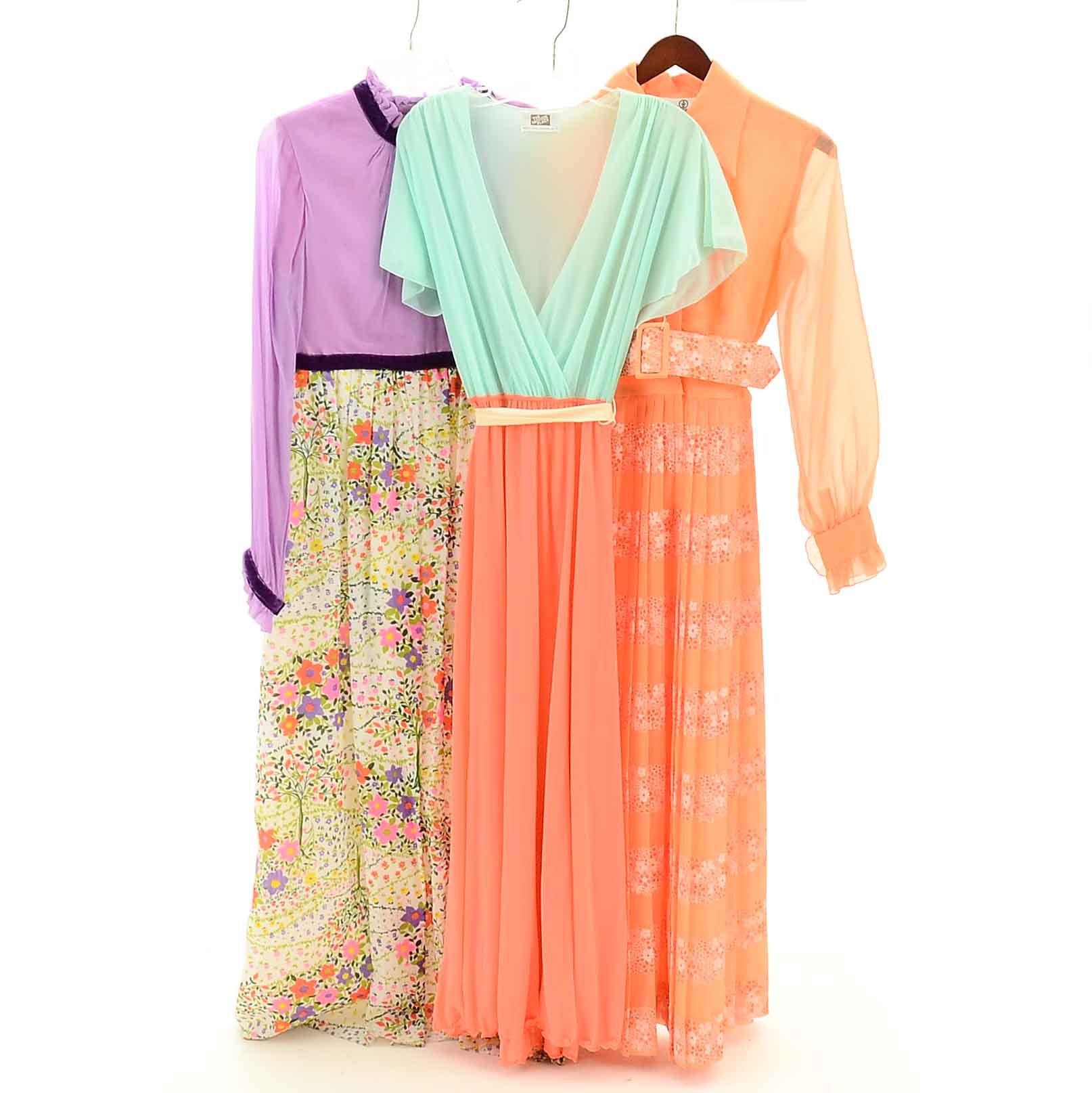 1970s Vintage Pastel Floral Dresses