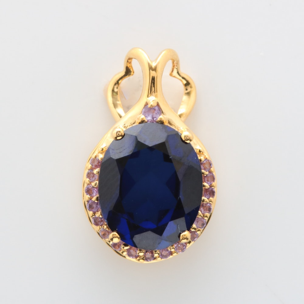 Gold Wash on Sterling Silver, Created Blue Sapphire and Amethyst Pendant