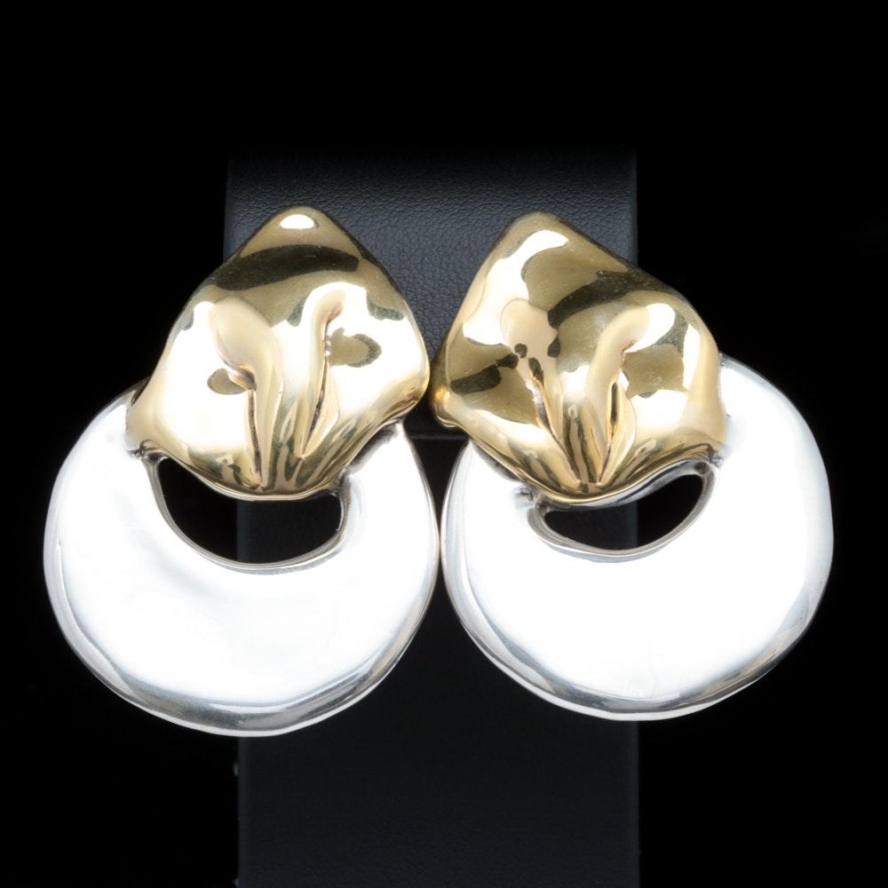 Versano Two-Tone Sterling Silver Clip On Earrings