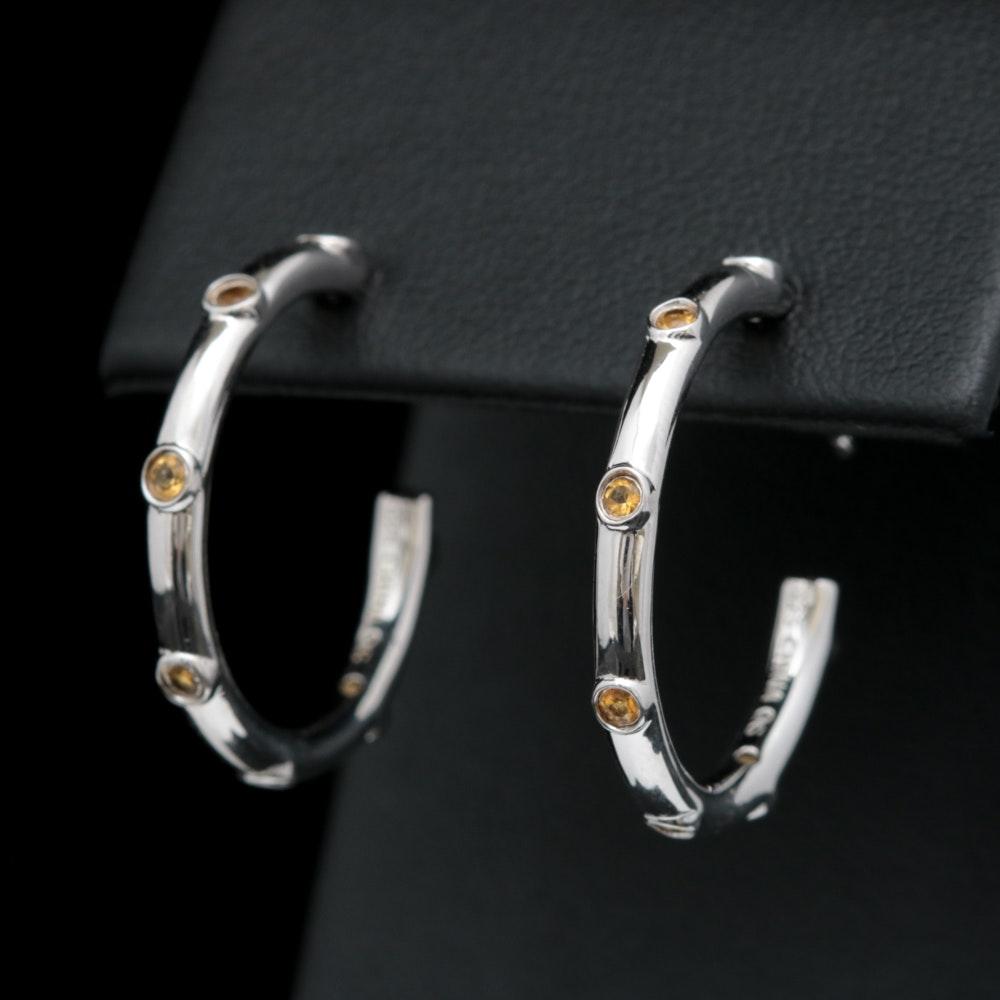 Sterling Silver and Citrine Hoop Earrings