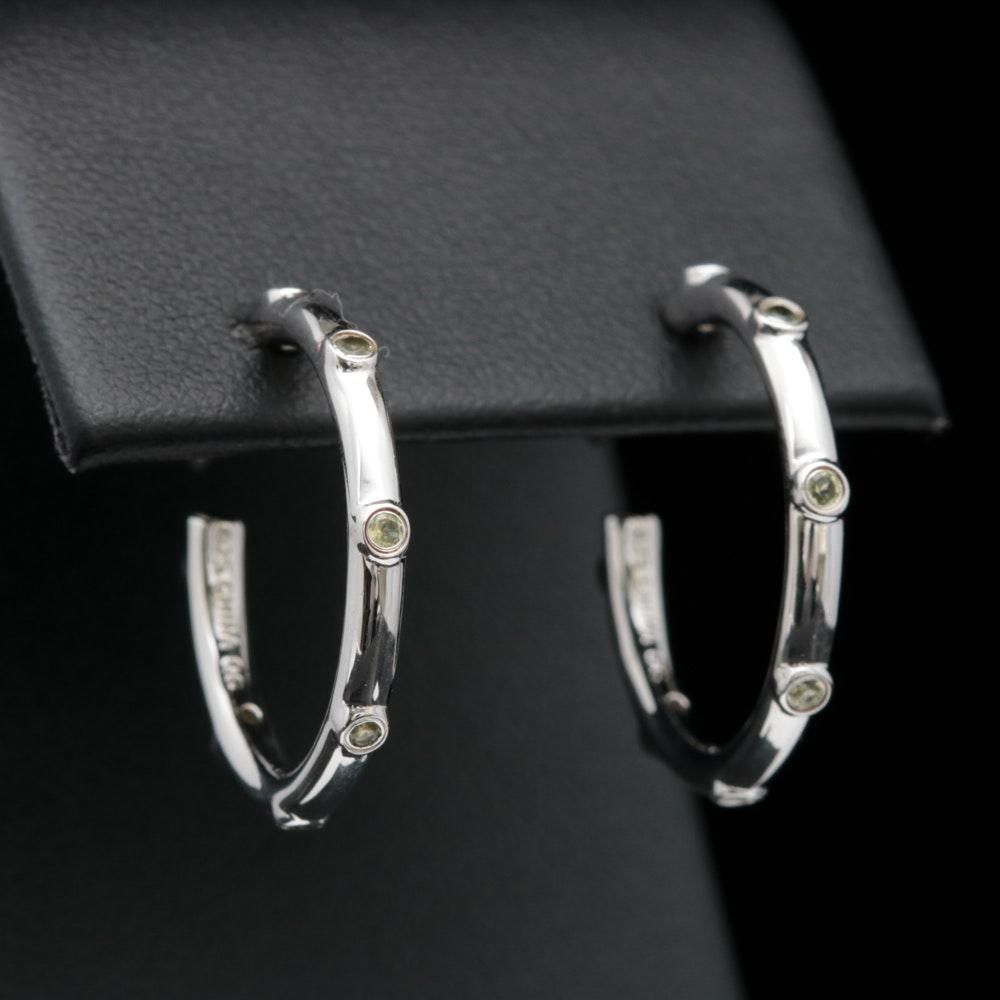 Sterling Silver and Peridot Hoop Earrings