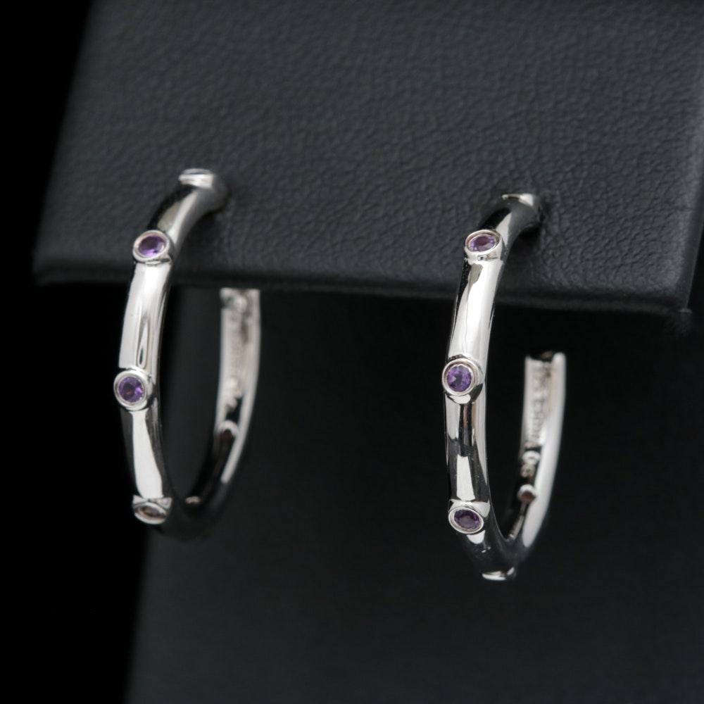 Sterling Silver and Amethyst Hoop Earrings