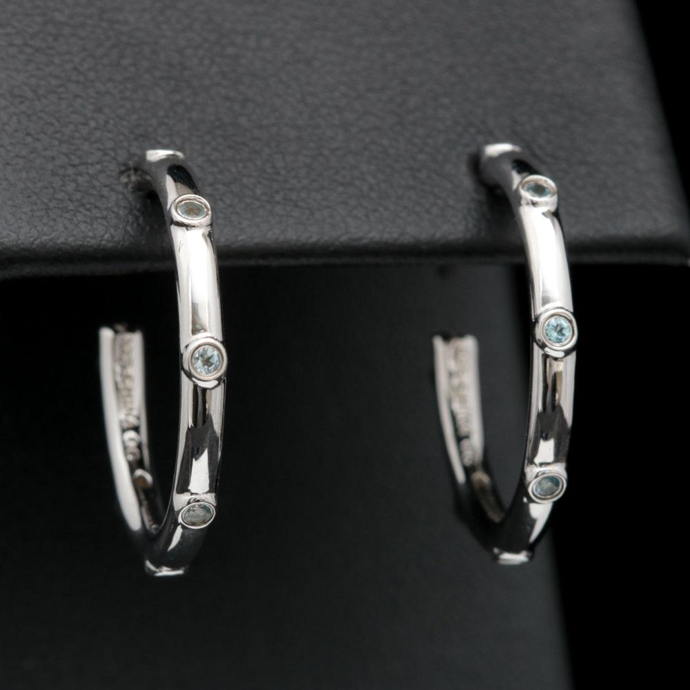 Sterling Silver and Blue Topaz Hoop Earrings