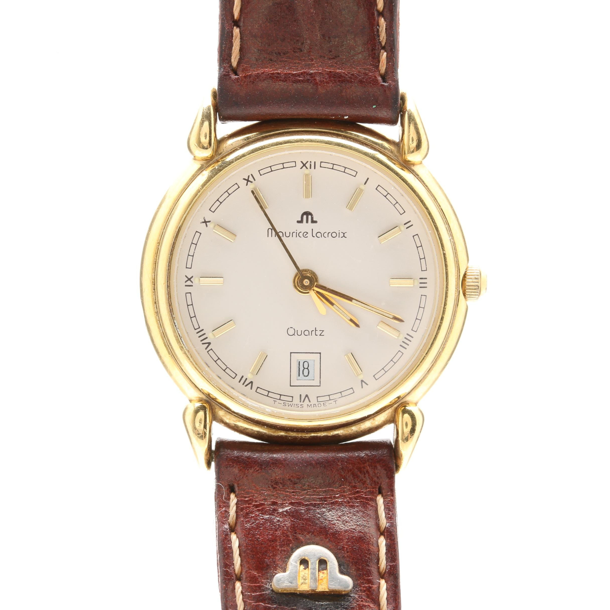 Maurice Lacroix Stainless Steel and Leather Wristwatch
