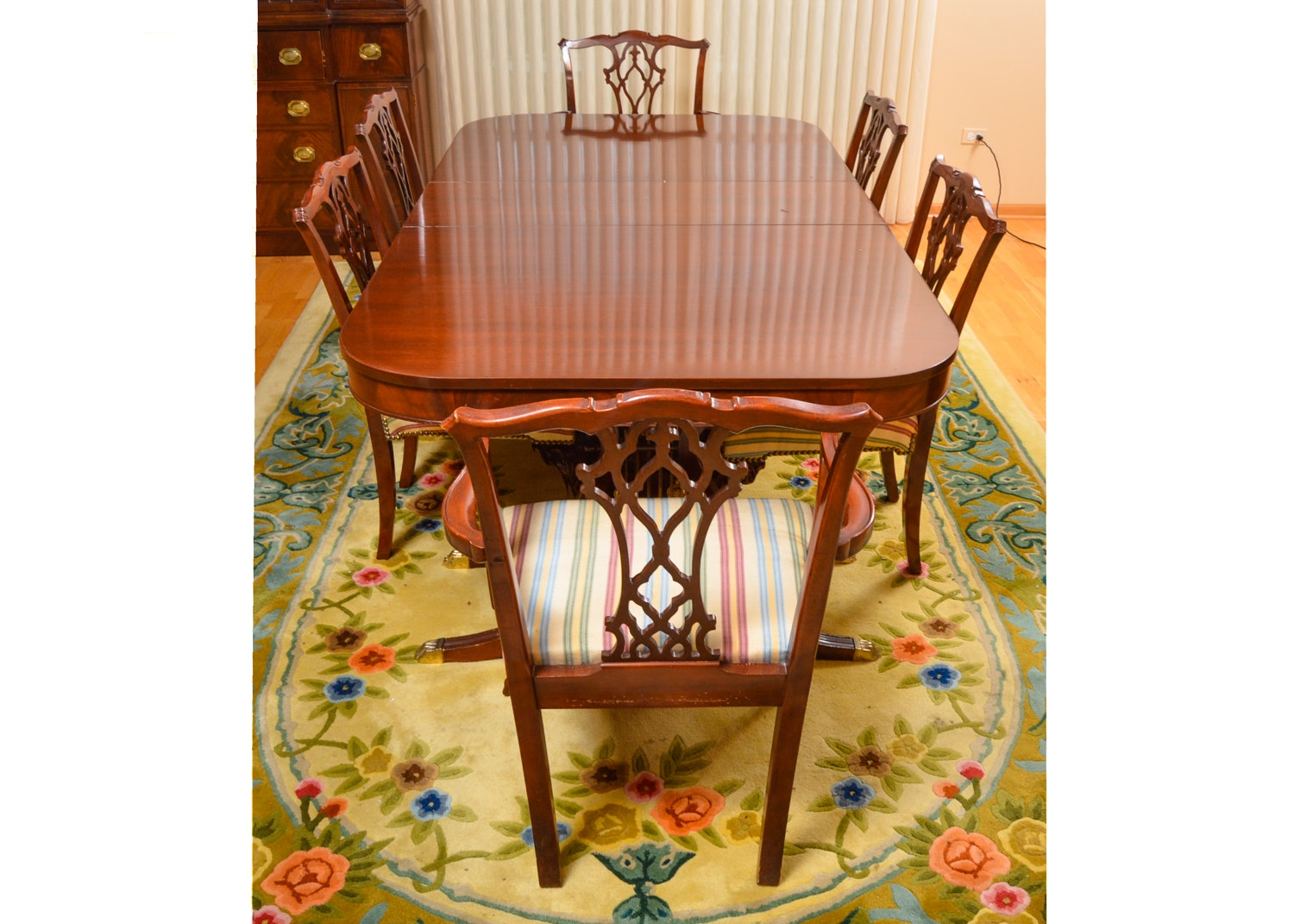 Vintage Chippendale Style Mahogany Dining Set