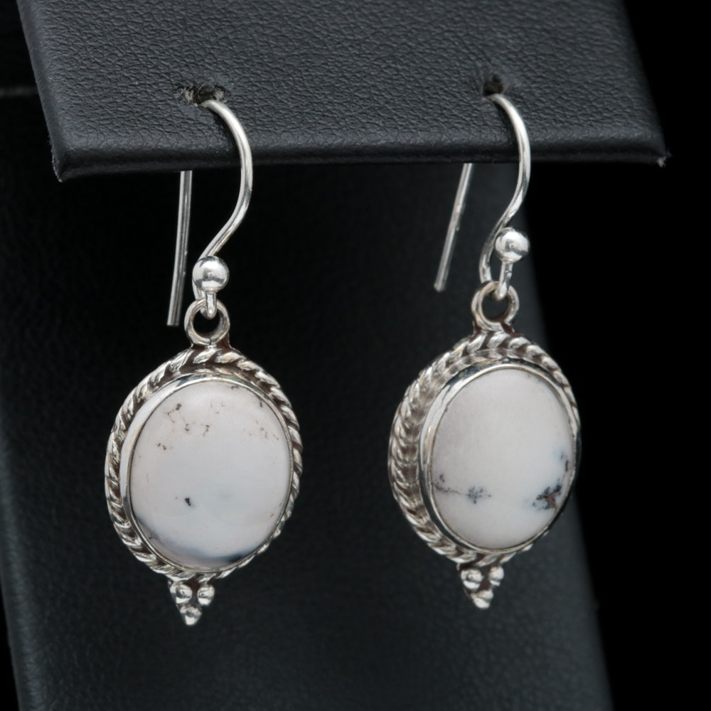 Sterling Silver and Dendritic Opal Earrings