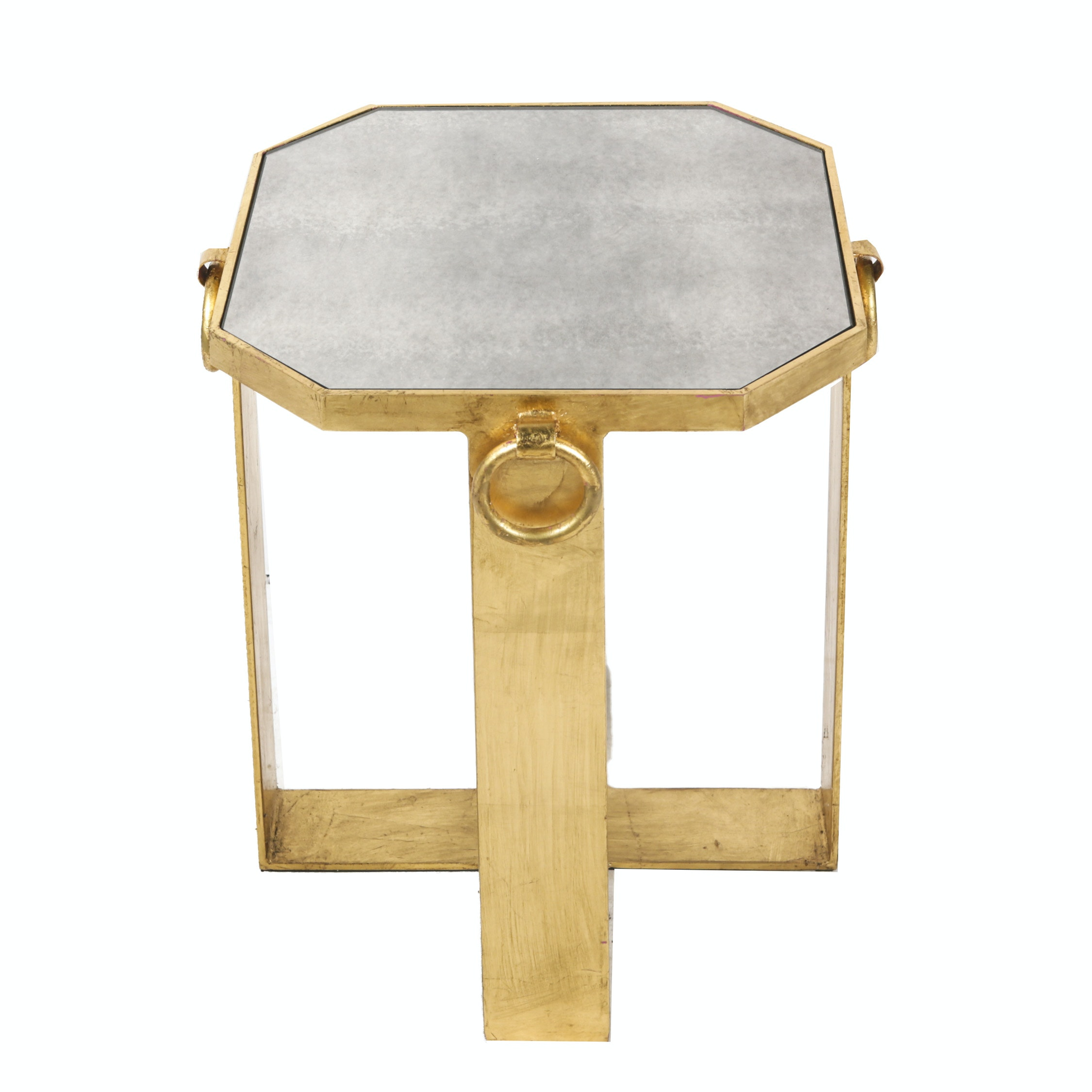 Hollywood Regency Style Mirror Top Side Table