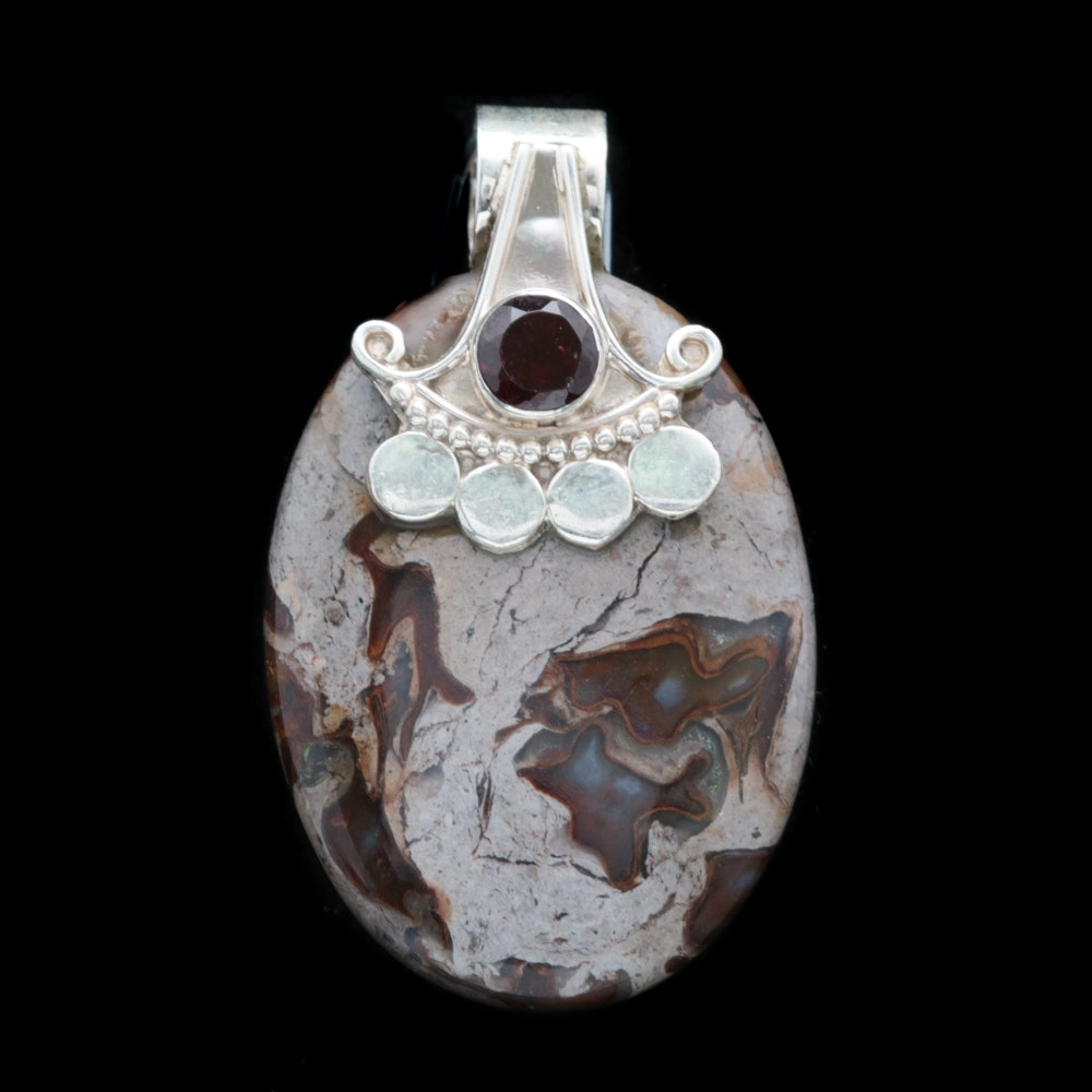 Sterling Silver, Dyed Agate and Garnet Pendant