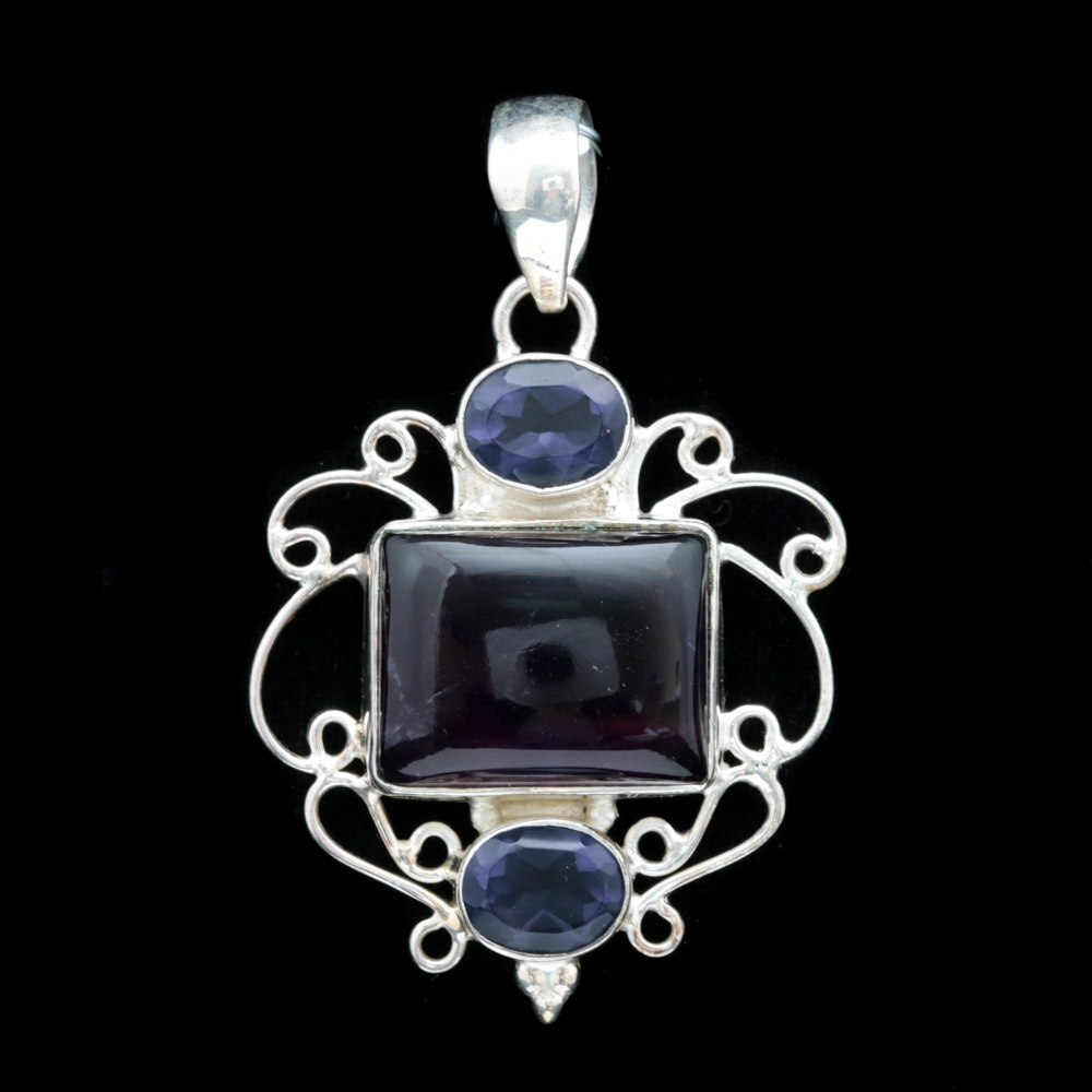 Sterling Silver and Dyed Quartz Pendant with Chain