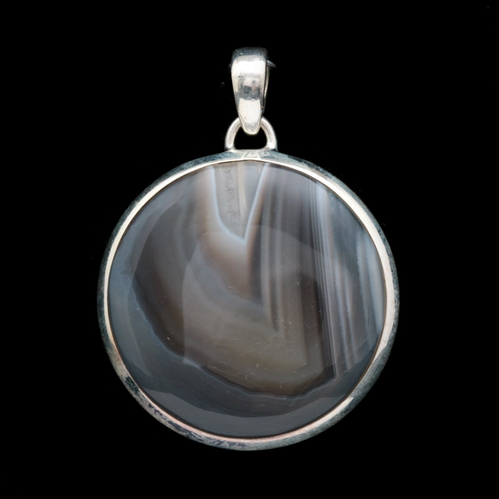Sterling Silver and Banded Agate Pendant
