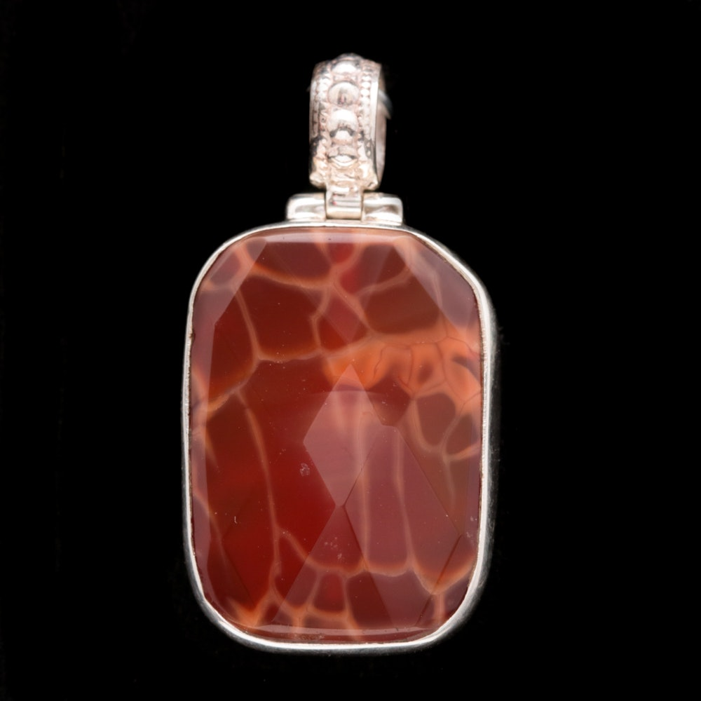 Sterling Silver and Dyed Orange Quartz Pendant