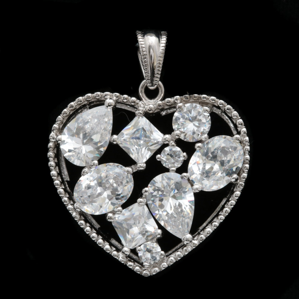 Sterling Silver and Cubic Zirconia Heart Pendant