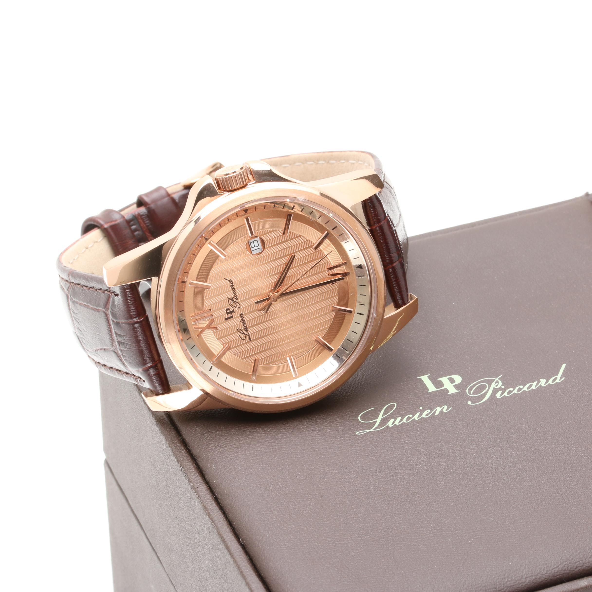 Lucien Piccard Stainless Steel and Leather Wristwatch