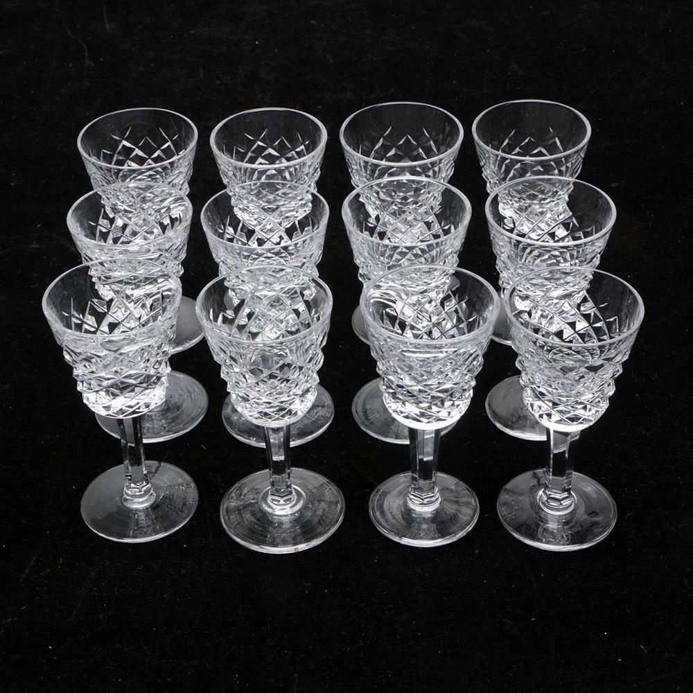 """Twelve Waterford Crystal """"Alana"""" Cordial Glasses"""
