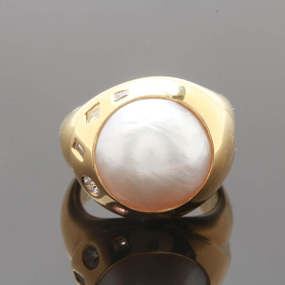 18K Yellow Gold Mabé Pearl and Diamond Contemporary Style Ring