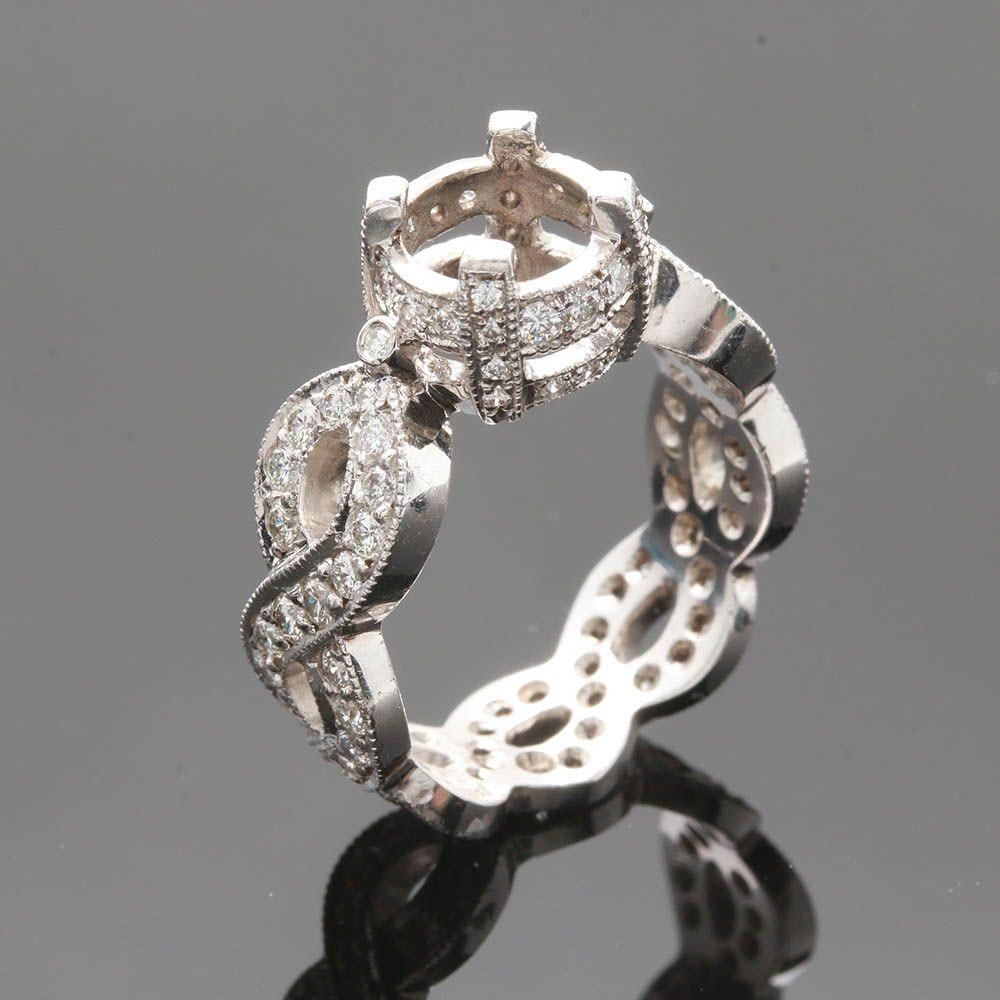 18K White Gold 1.78 CTW Diamond Semi Mount Ring