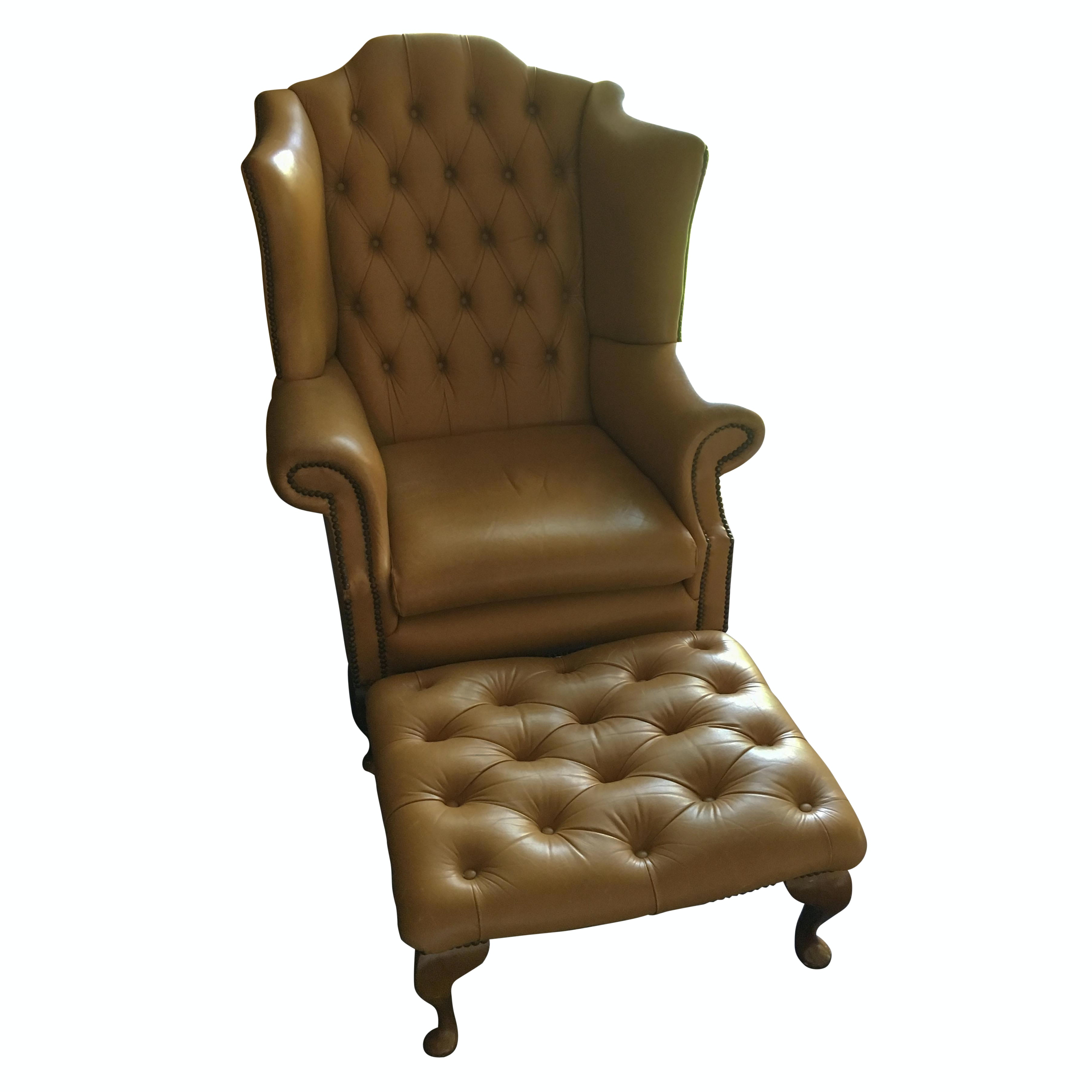 Butterscotch Leather Wingback Chair and Ottoman