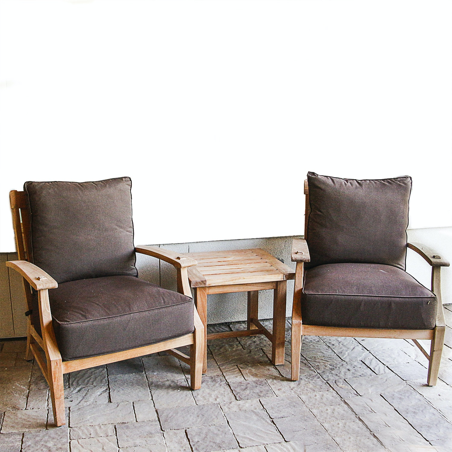 Summer Classics Wooden Patio Armchairs and Side Table