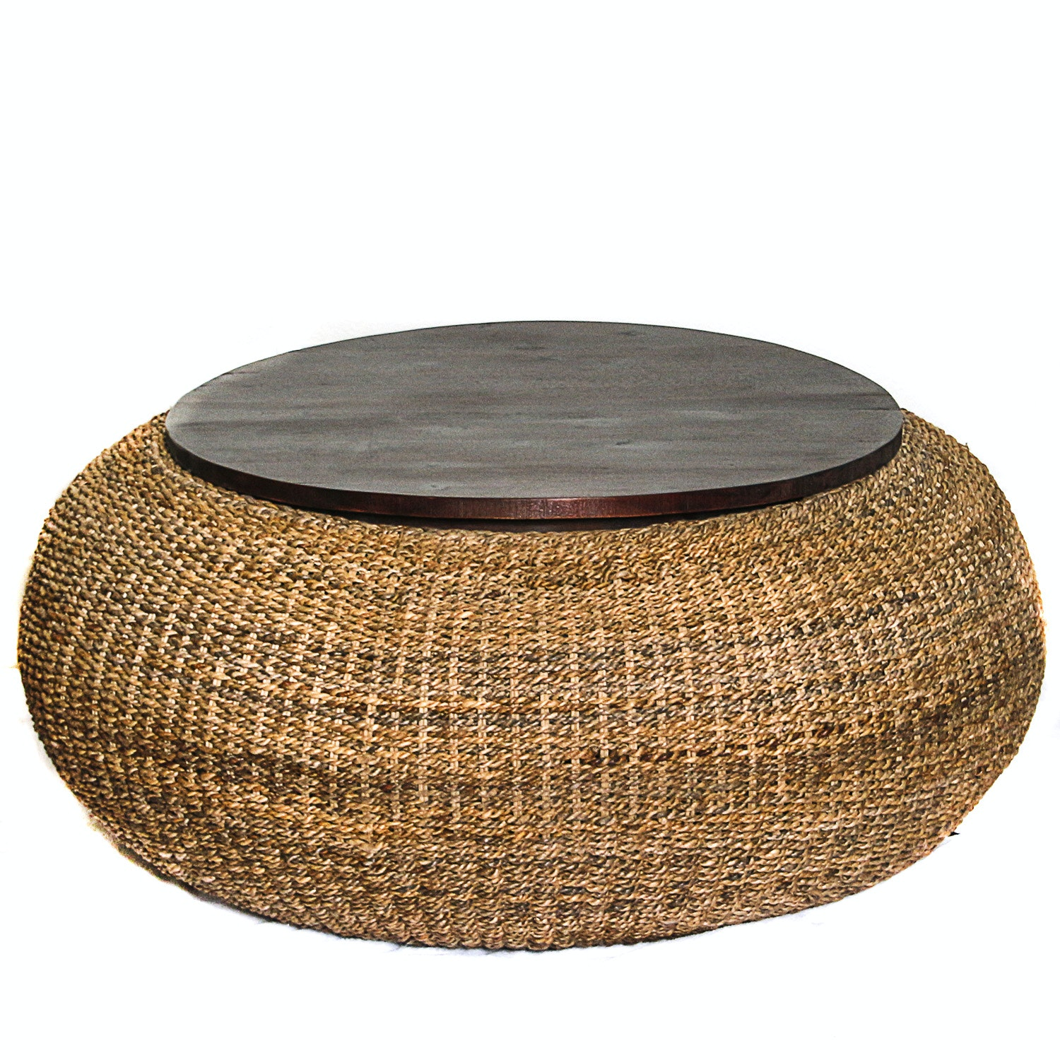 Woven Grass Storage Pouf Table