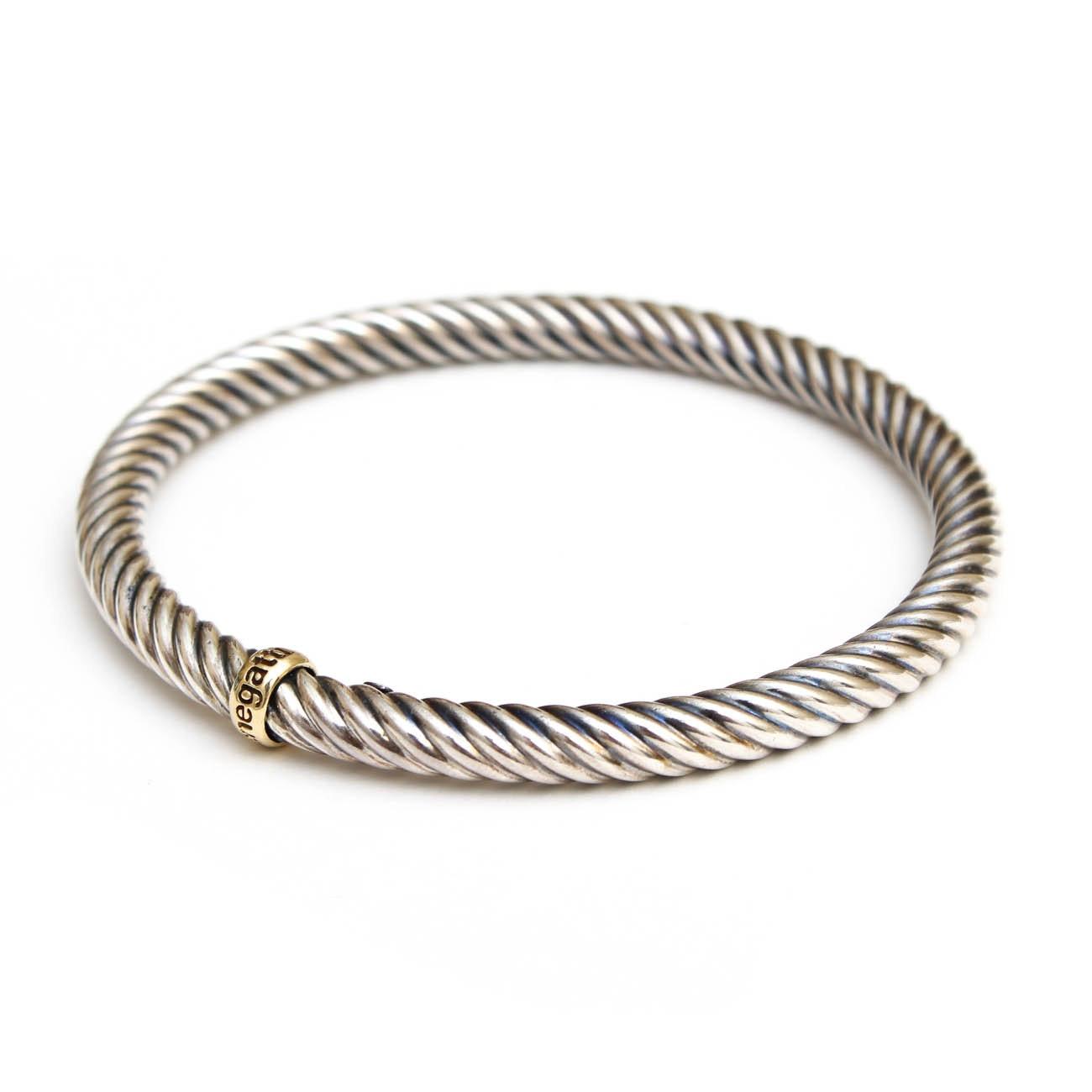 Phillip Gabriel Sterling Silver and 18K Gold Bangle Bracelet