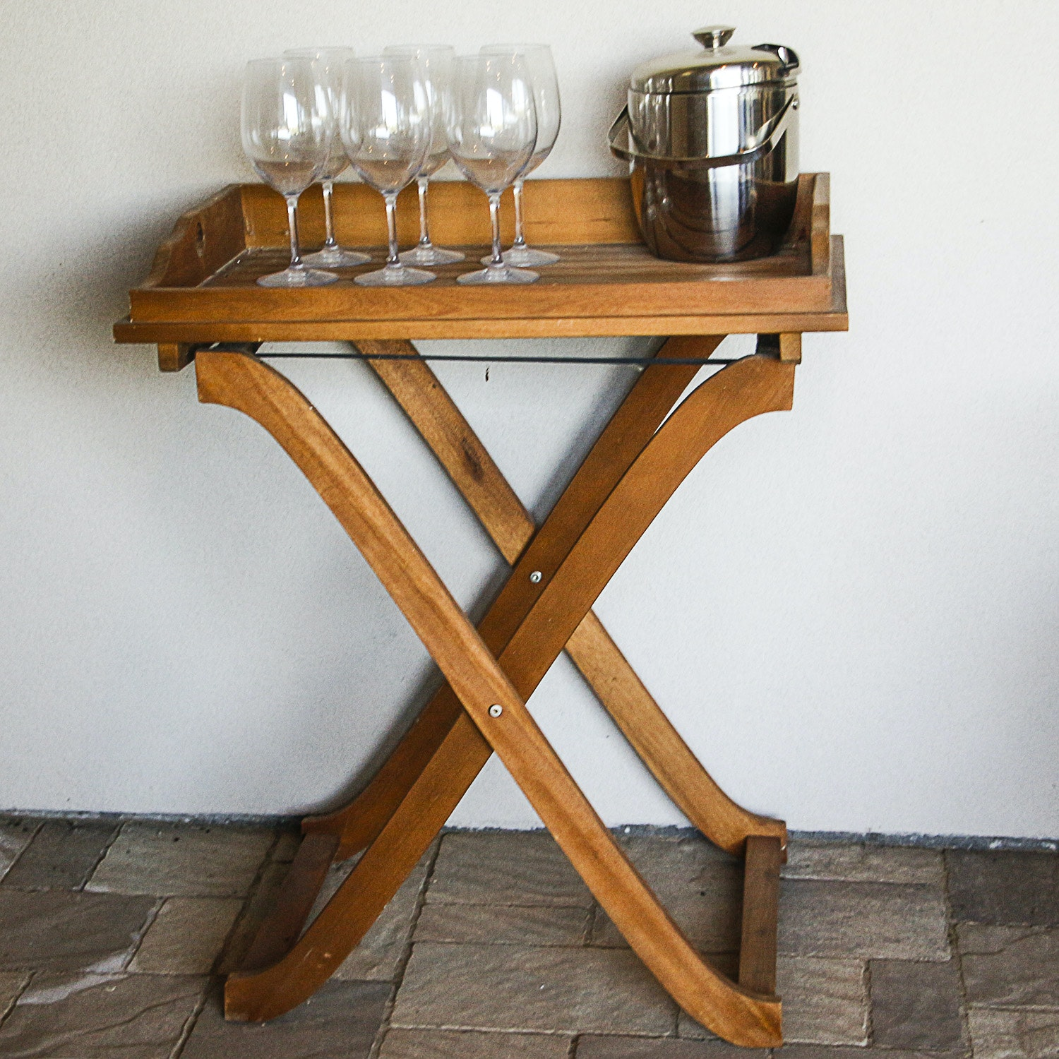 Wooden Foldable Serving Tray with Wine Glasses and Metal Ice Bucket