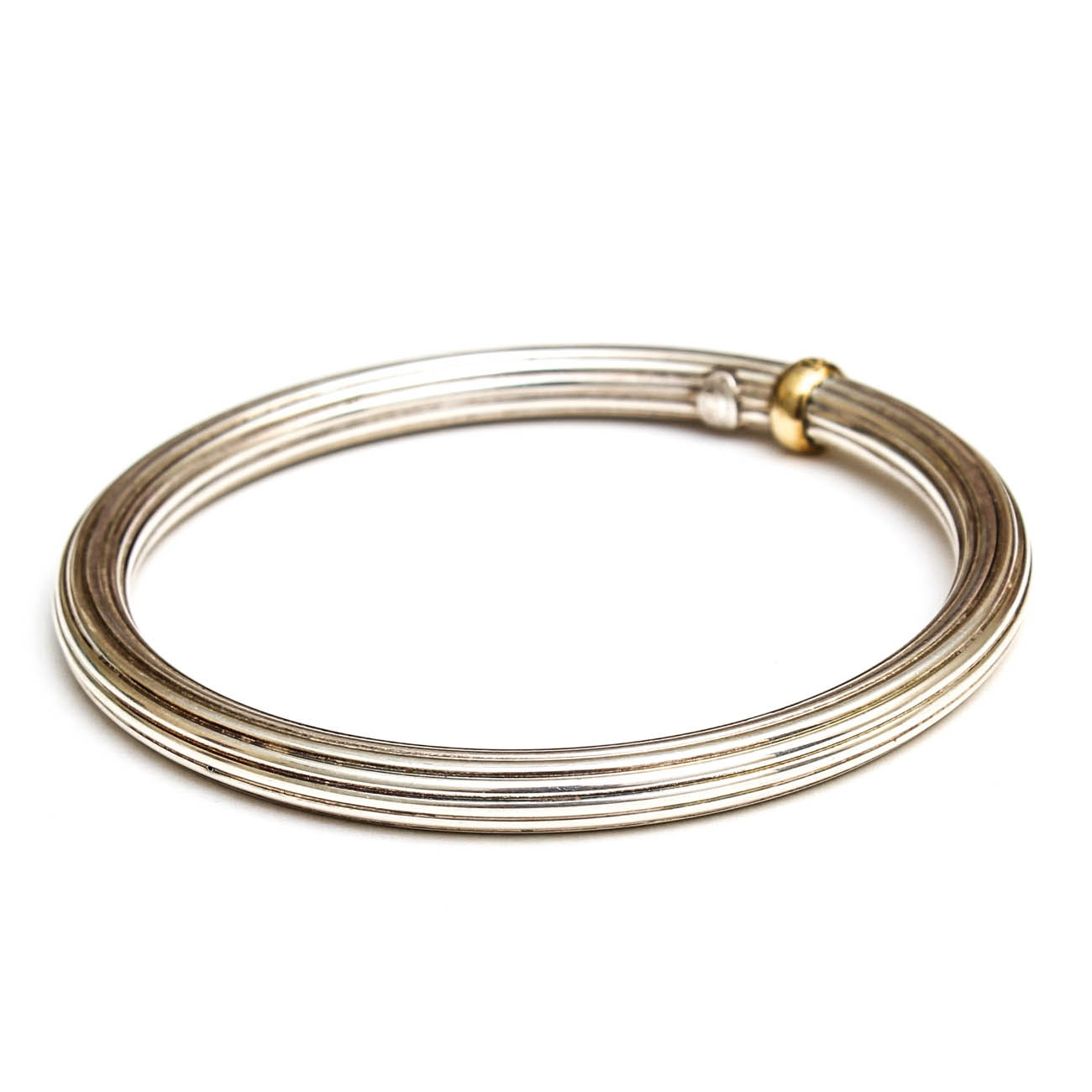 Phillip Gabriel Sterling Silver and 18K Yellow Gold Bangle Bracelet