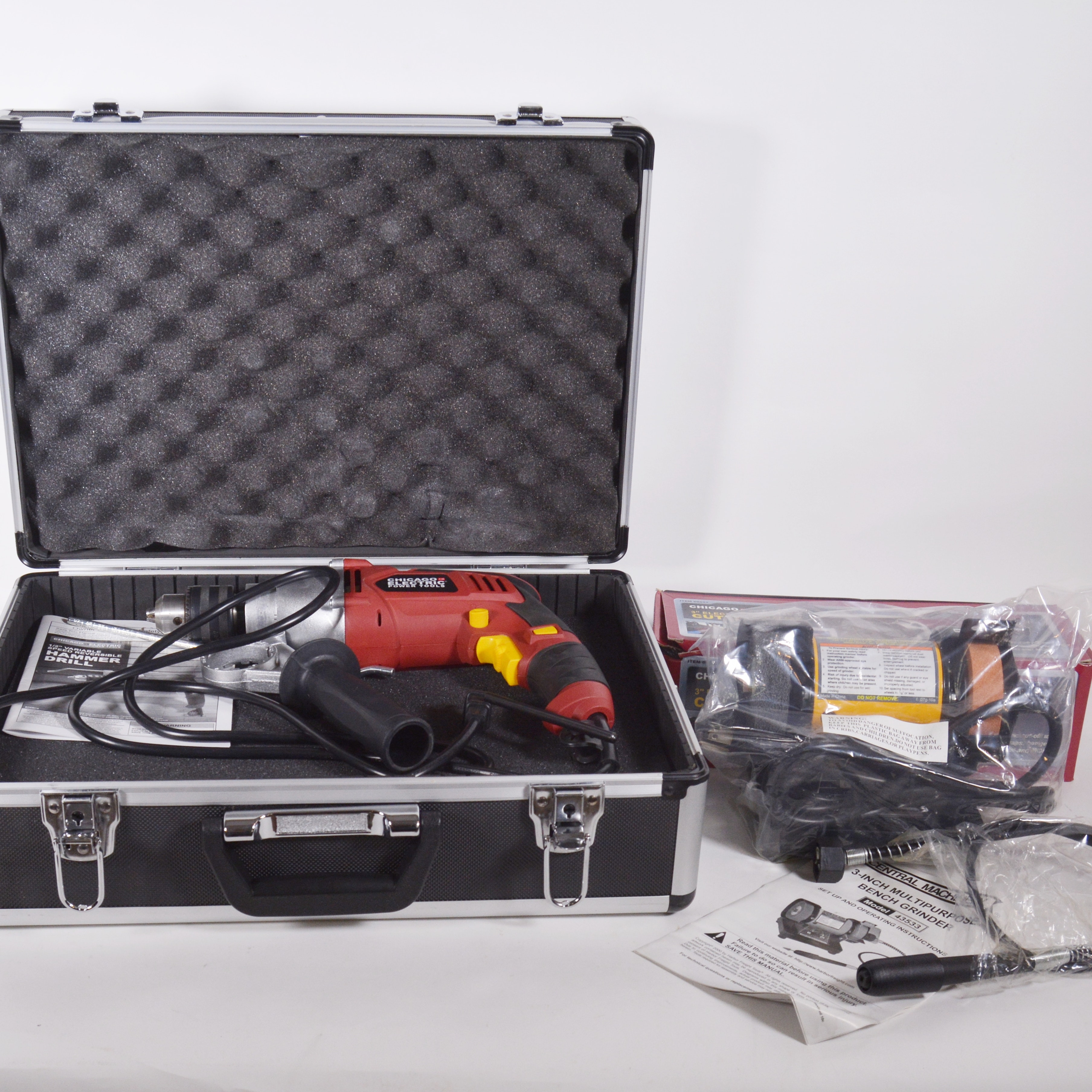 Chicago Electric Hammer Drill in Case and Other Bench Grinder