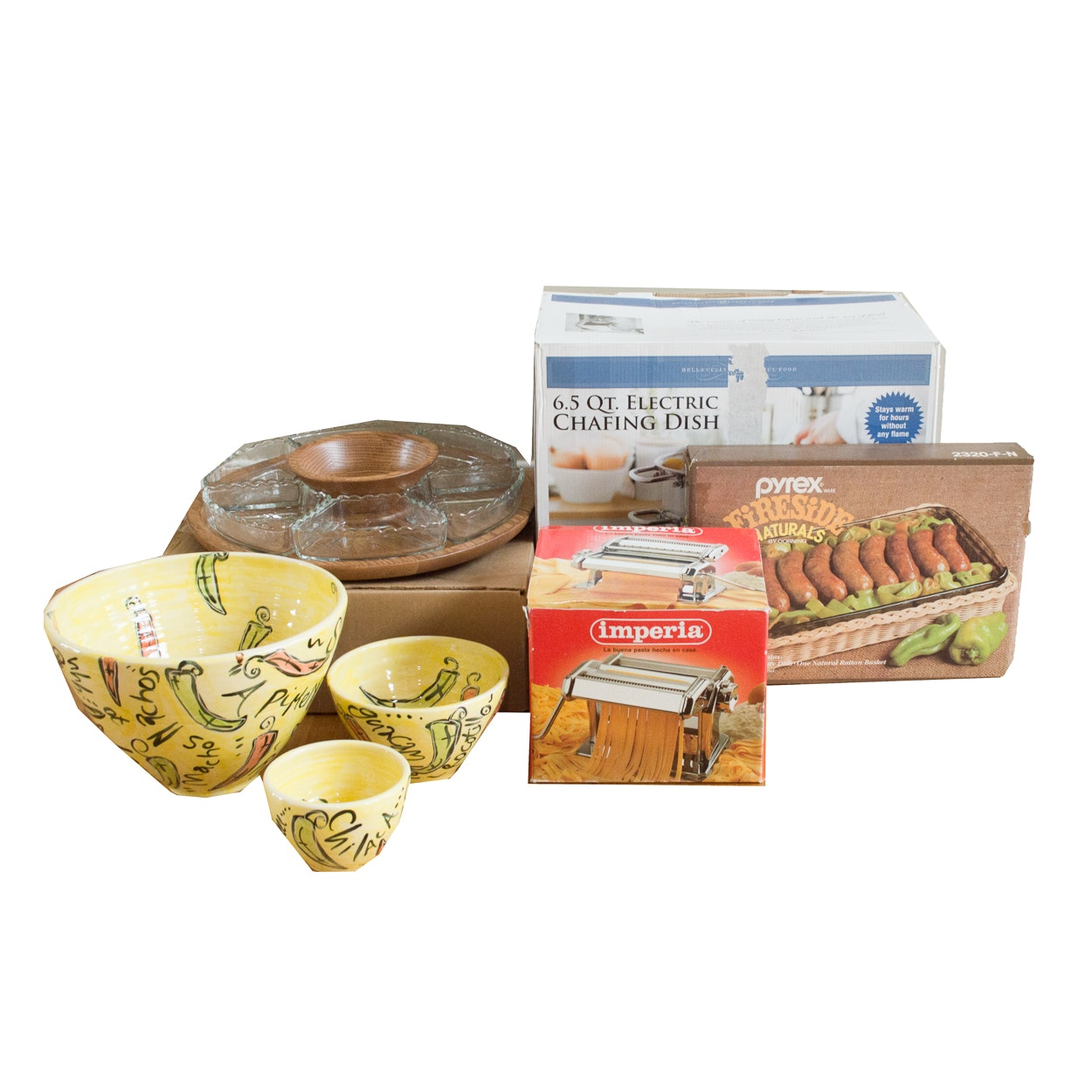Kitchen Wares, Including Pyrex, Imperia, Bella Cucina, and Native Wood