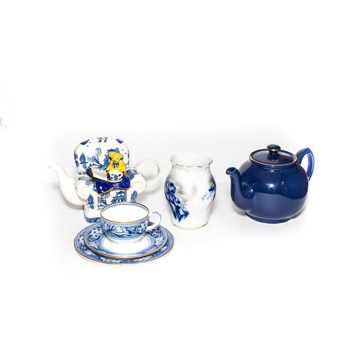 Serveware, Including Cardew Blue, Wedgwood, and Vintage S. Hancock & Sons Vase