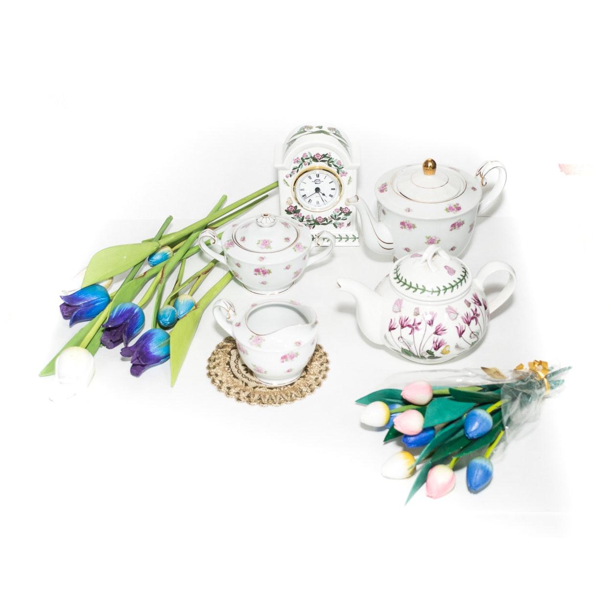 """Portmeirion """"The Botanical Garden"""" Teapots, Clock and Craftsman China Tea Set"""