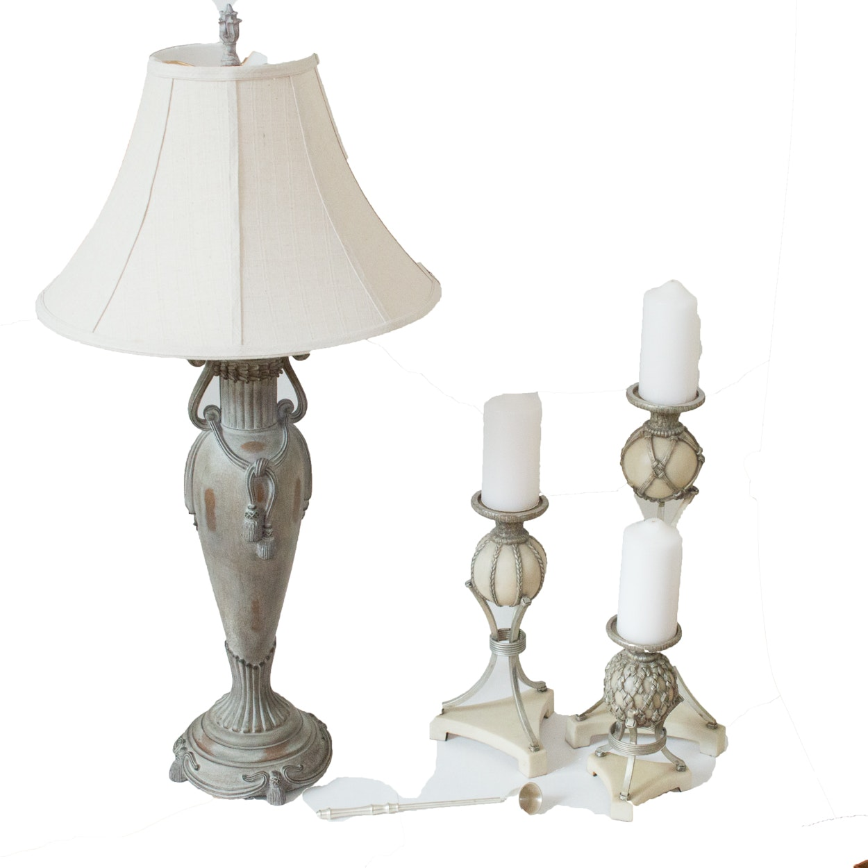Alabaster Weave Candleholders and Lamp