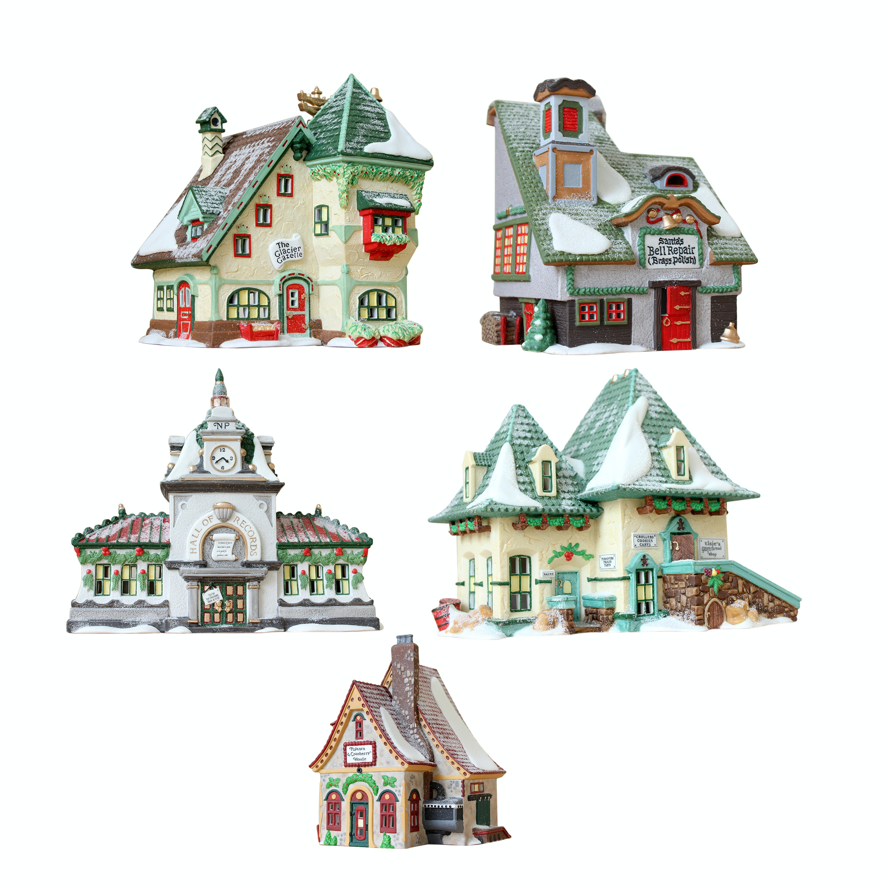 """Five Department 56 """"North Pole Series"""" Holiday Village"""