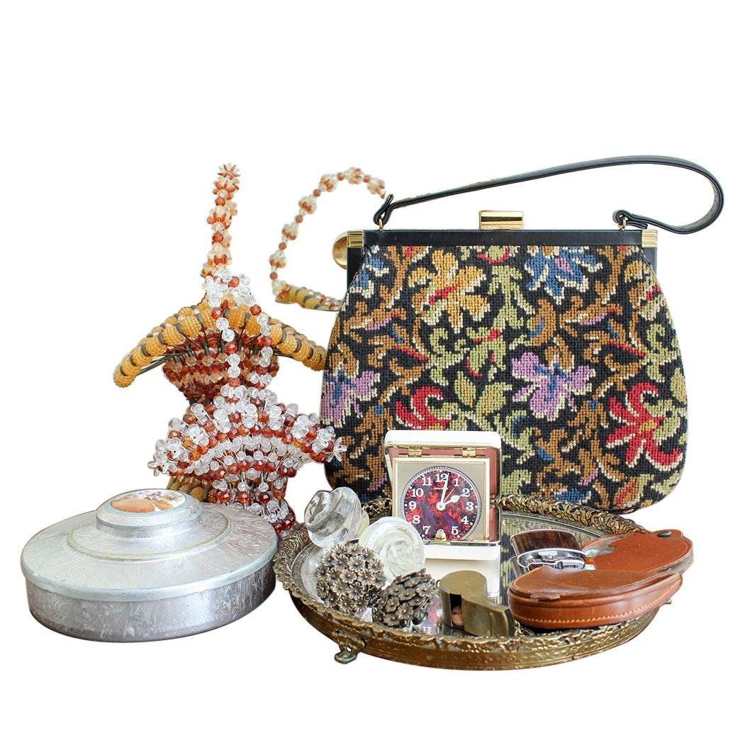 Vintage Vanity Accessories and Decor Including a Coblentz Original Handbag
