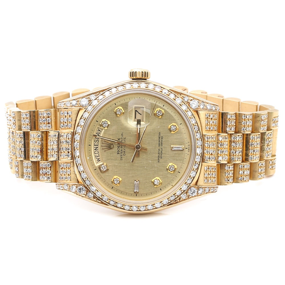 Rolex Oyster Perpetual Day-Date 18K Yellow Gold and 5.16 CTW Diamond Wristwatch