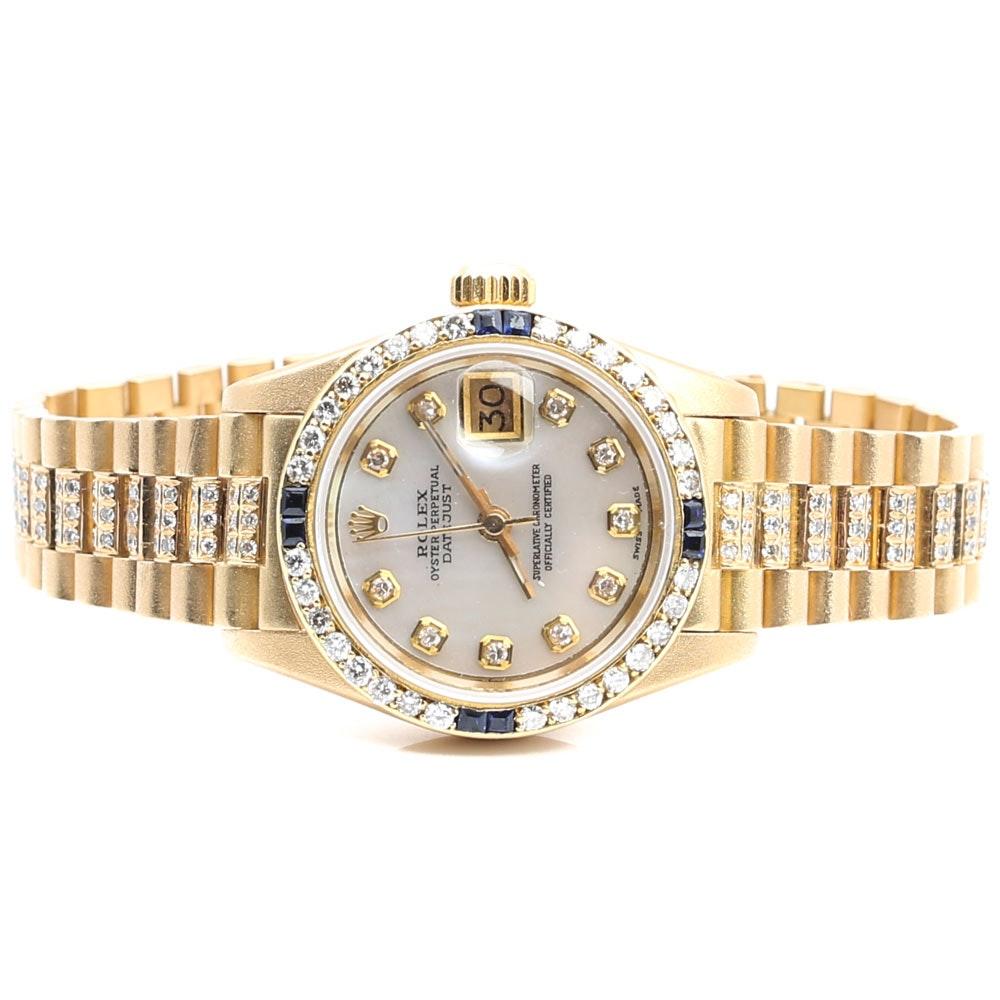Rolex Oyster Perpetual Datejust 18K Gold 1.80 CTW Diamond & Sapphire Wristwatch