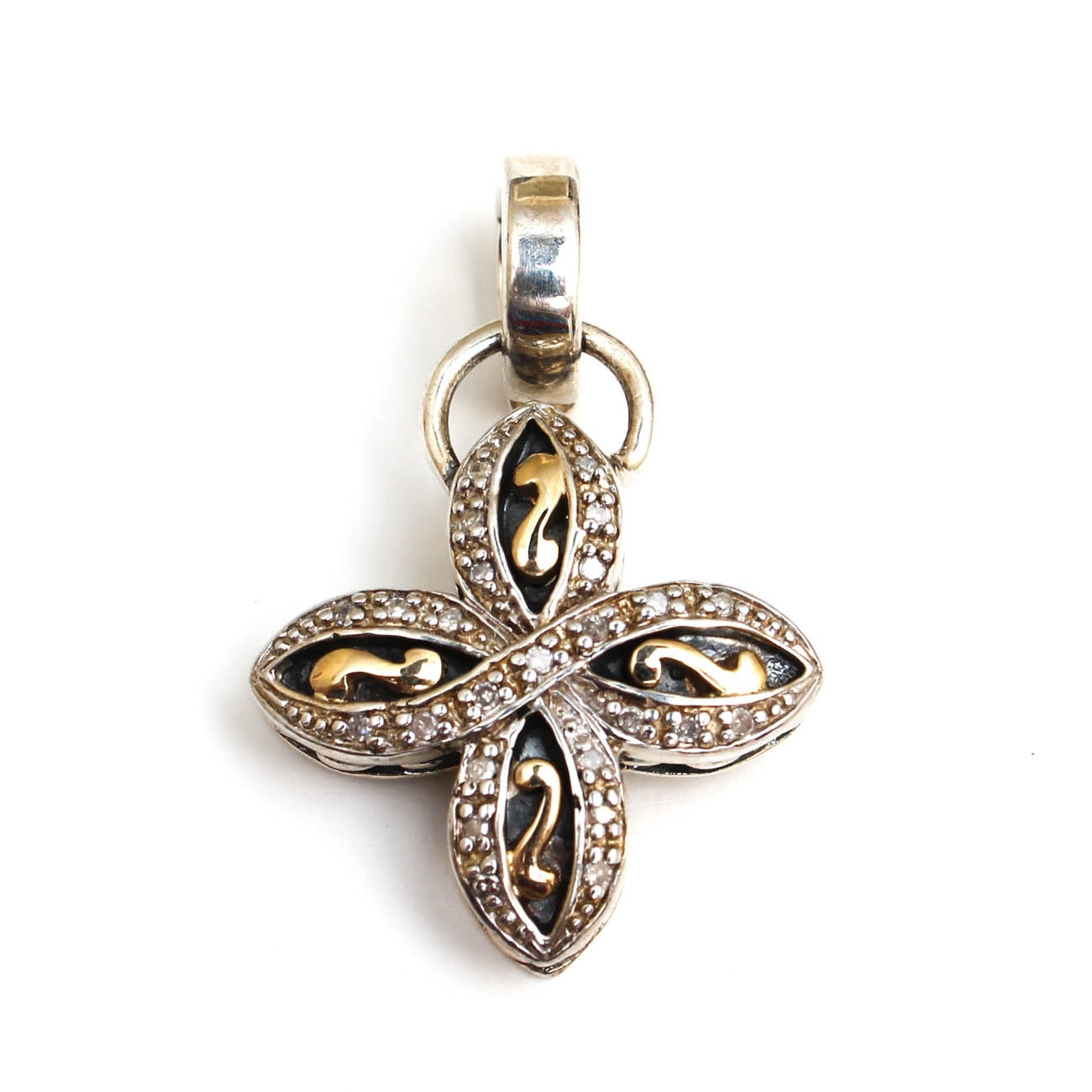 Sterling Silver and 14K Yellow Gold Diamond Clover Pendant