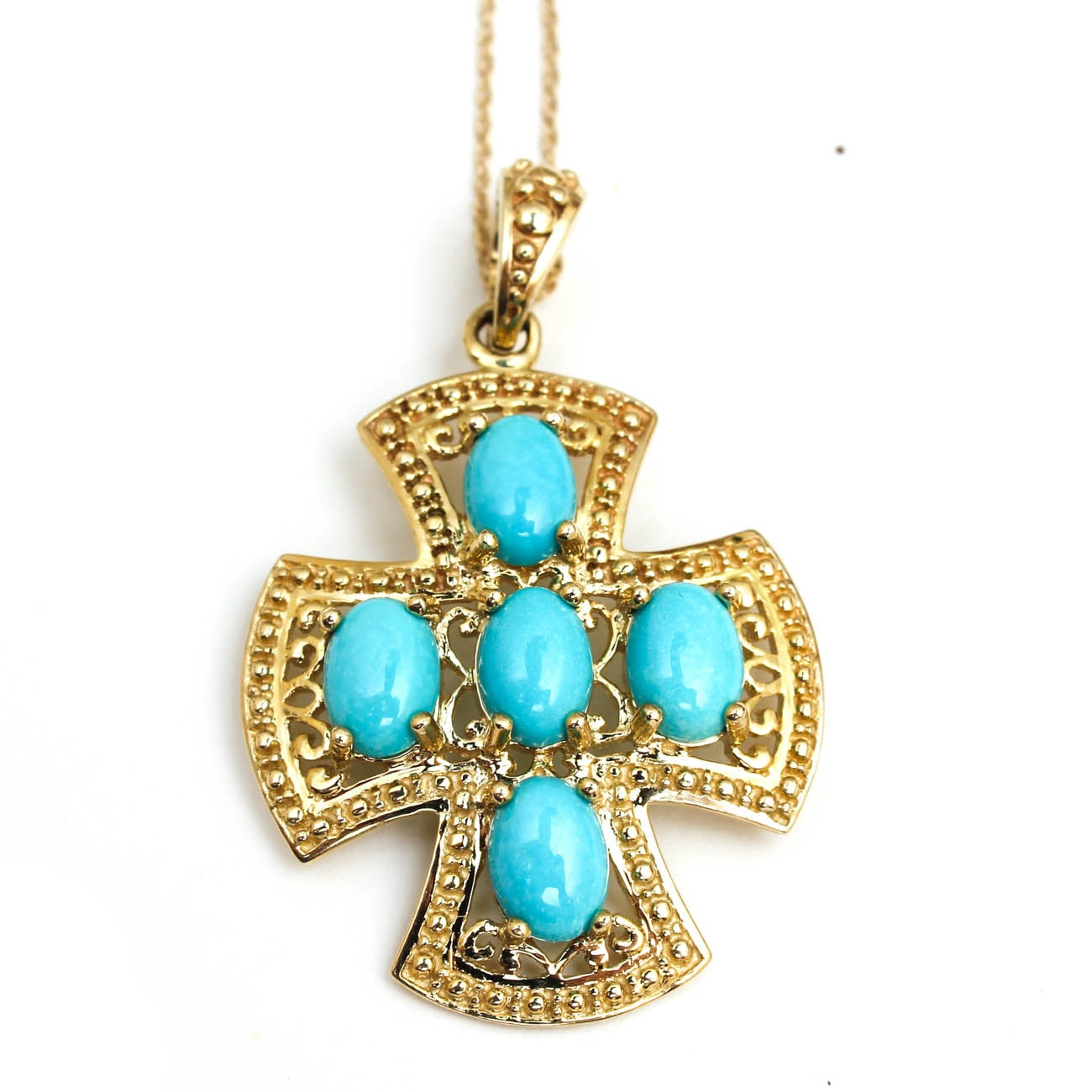 14K Yellow Gold and Turquoise Cross Pendant Necklace