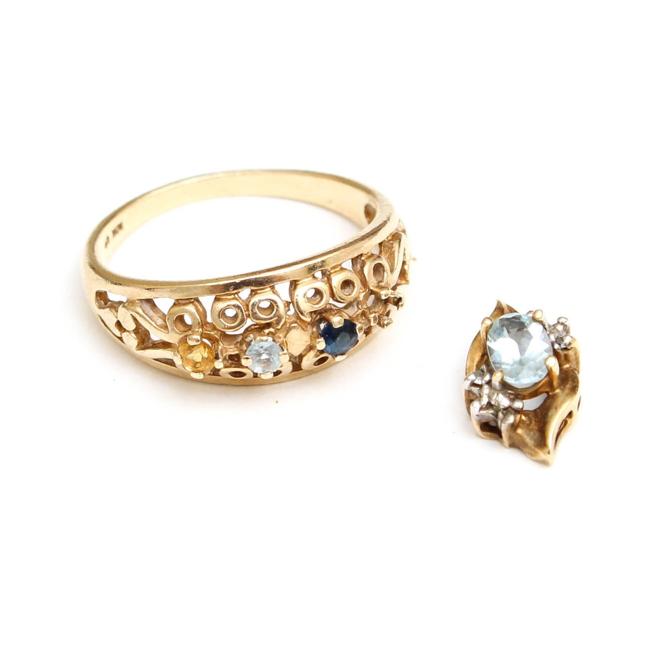 10K Yellow Gold Ring and Pendant with Gemstones