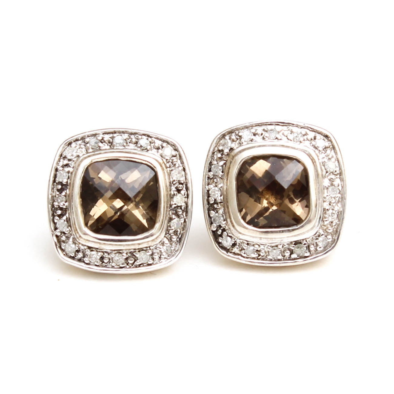 14K White Gold and Sterling Smoky Quartz and Diamond Stud Earrings